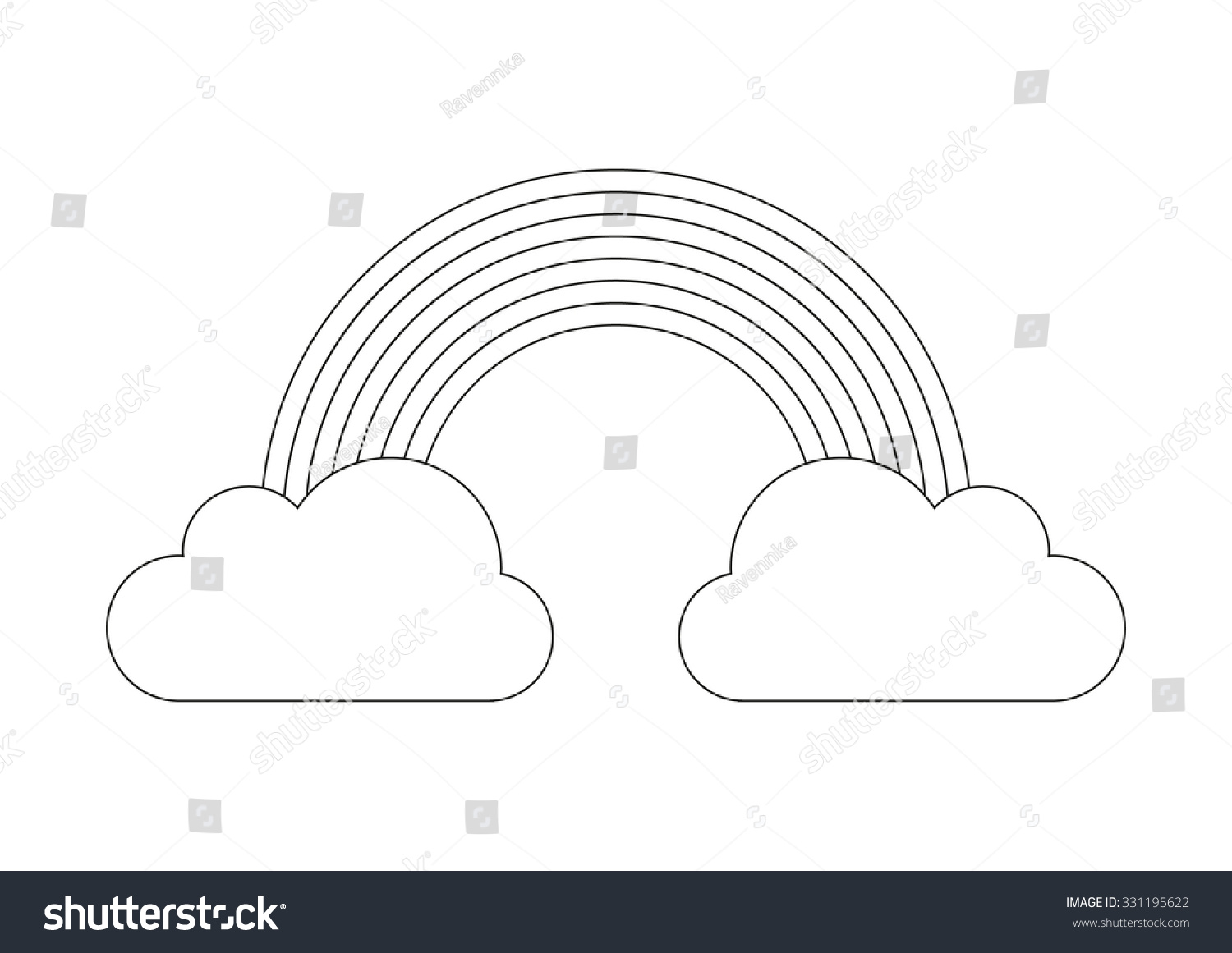 Coloring Book Rainbow Cloud Stock Vector 331195622