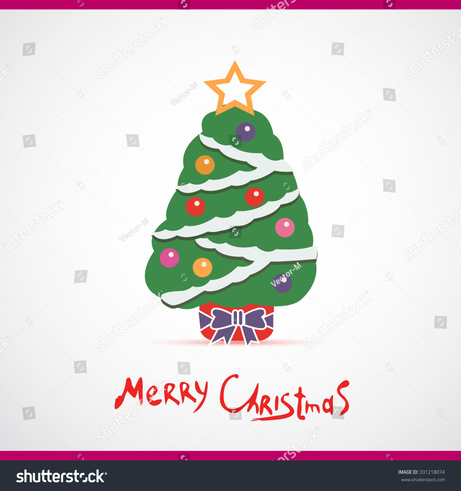 Vector Illustration Of Decorated Christmas Tree Christmas Tree
