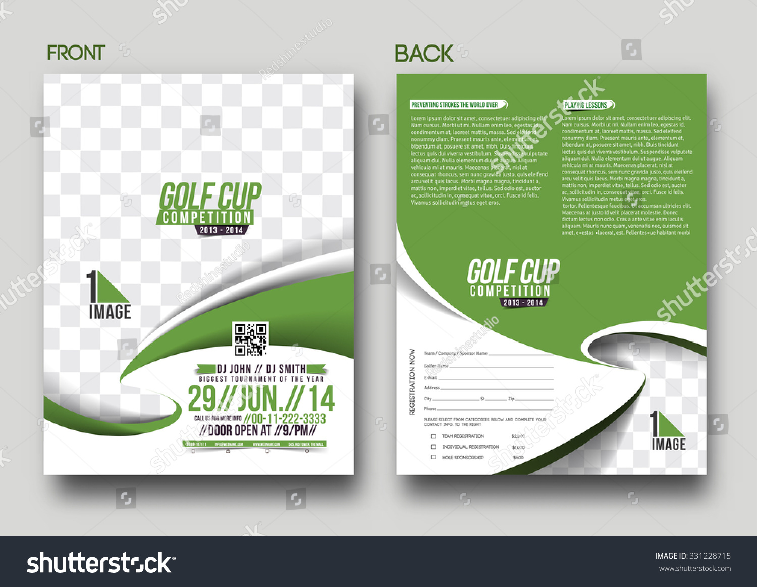 Golf Tournament Front U0026 Back Flyer Template