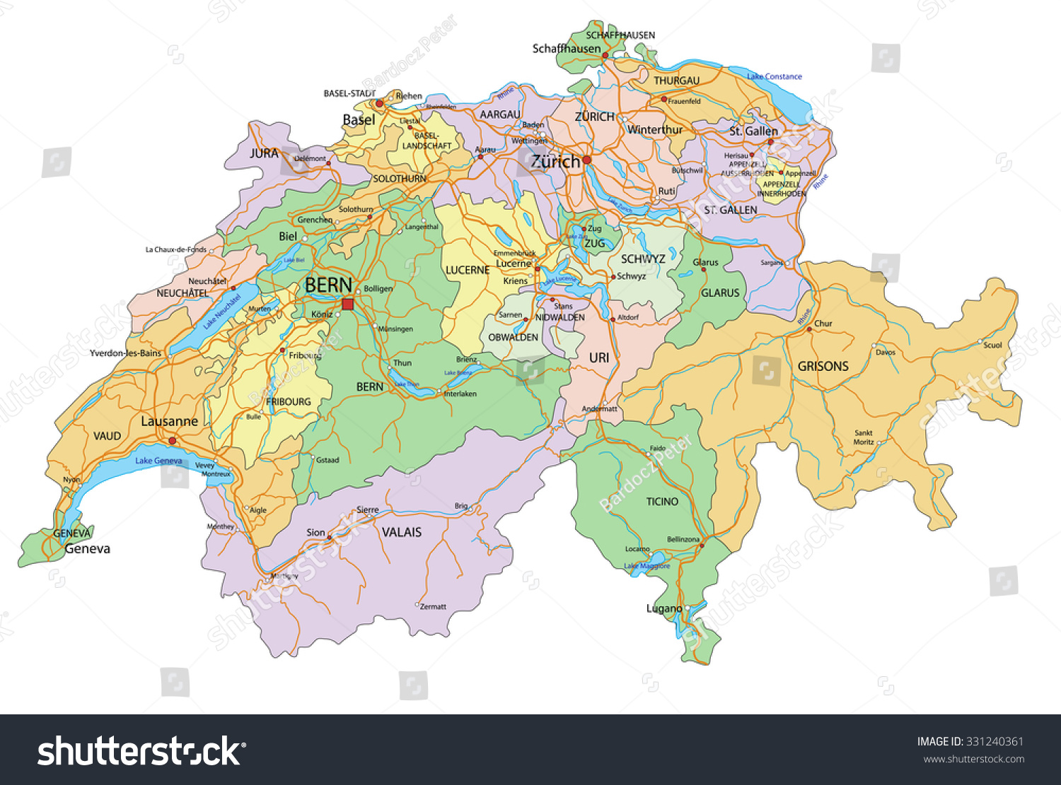 Switzerland Highly Detailed Editable Political Map Stock Vector Royalty Free 331240361