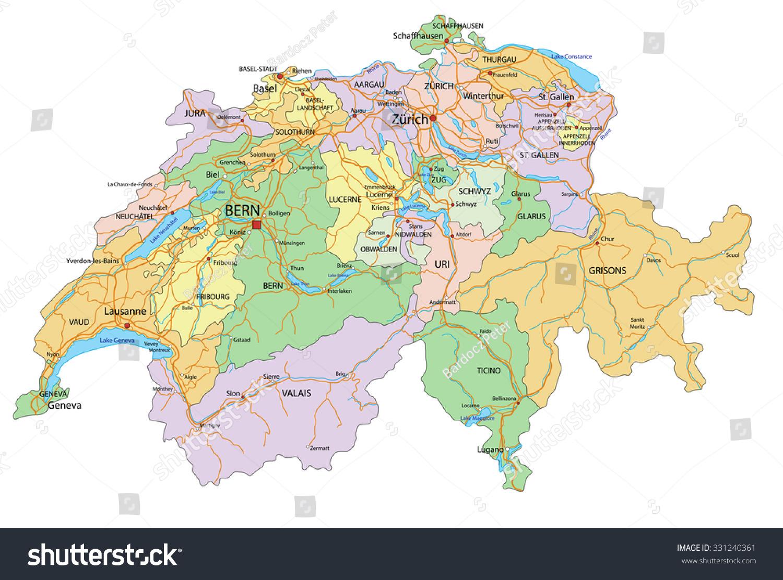 Switzerland Highly Detailed Editable Political Map Stock Vector - Switzerland language map