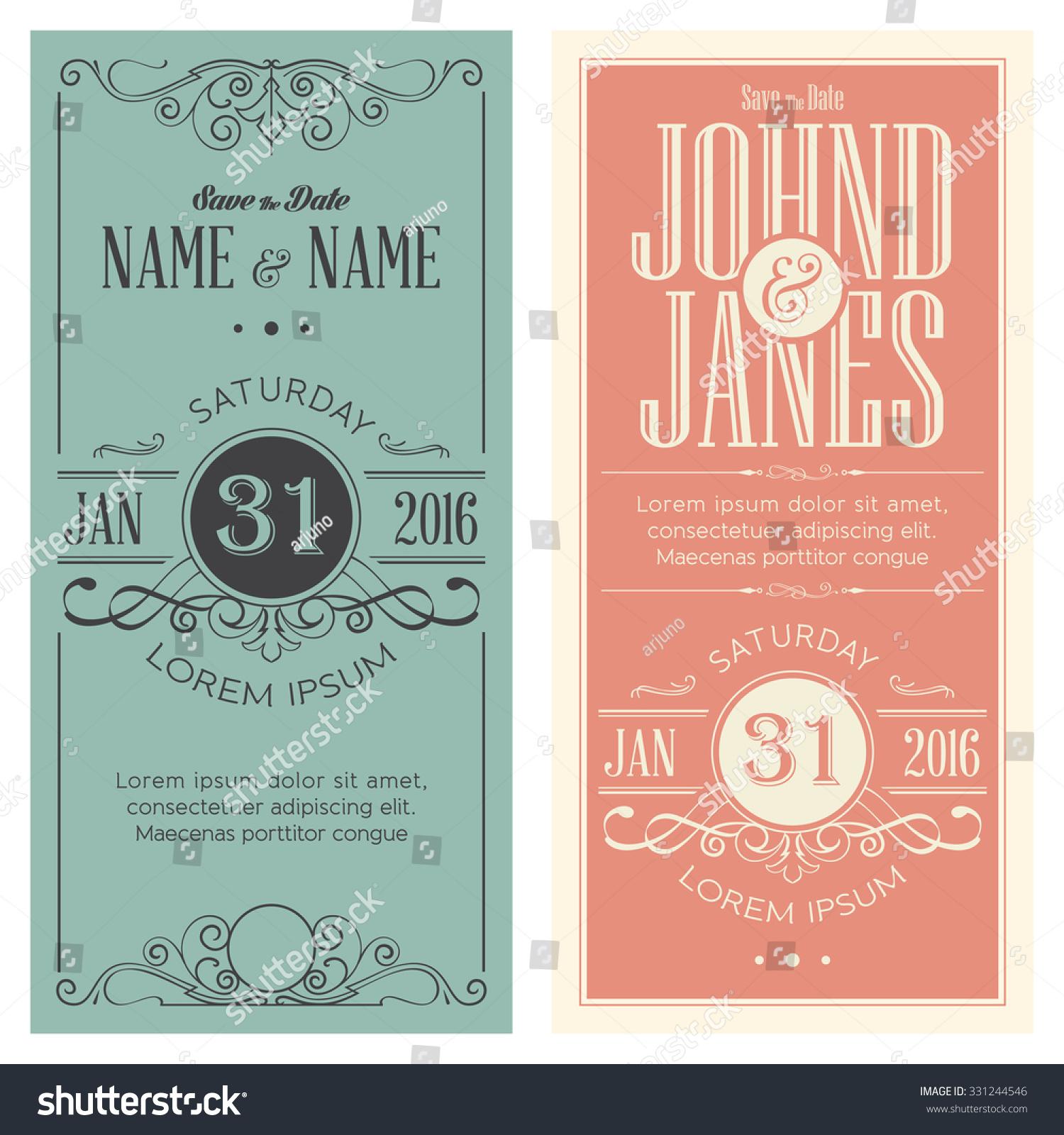 Wedding Invitation Cards Set Antique Greeting Stock Vector Royalty