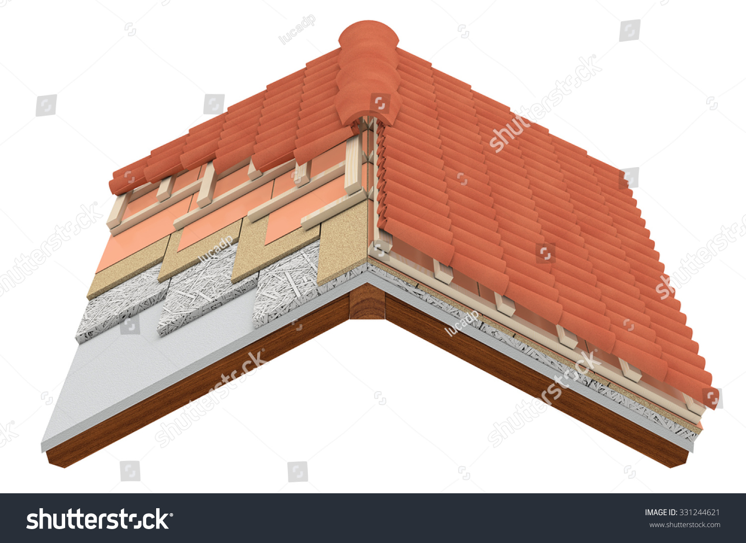 Thermal Insulation House Energy Efficiency Concept Isolated On White - Cross section of a house roof all the layers are visible thermal insulation