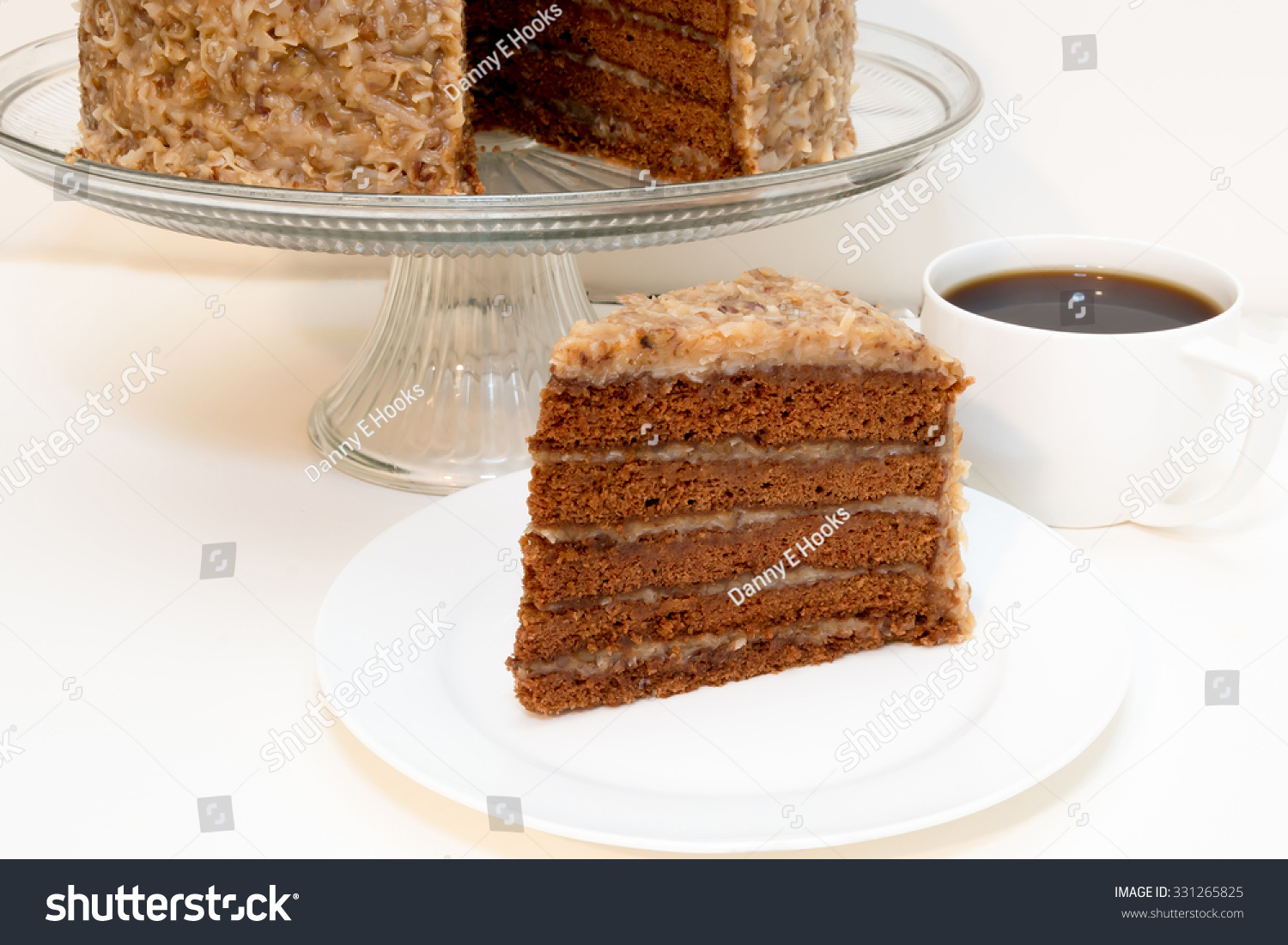 Slice German Chocolate Cake Removed Whole Stock Photo Edit Now 331265825