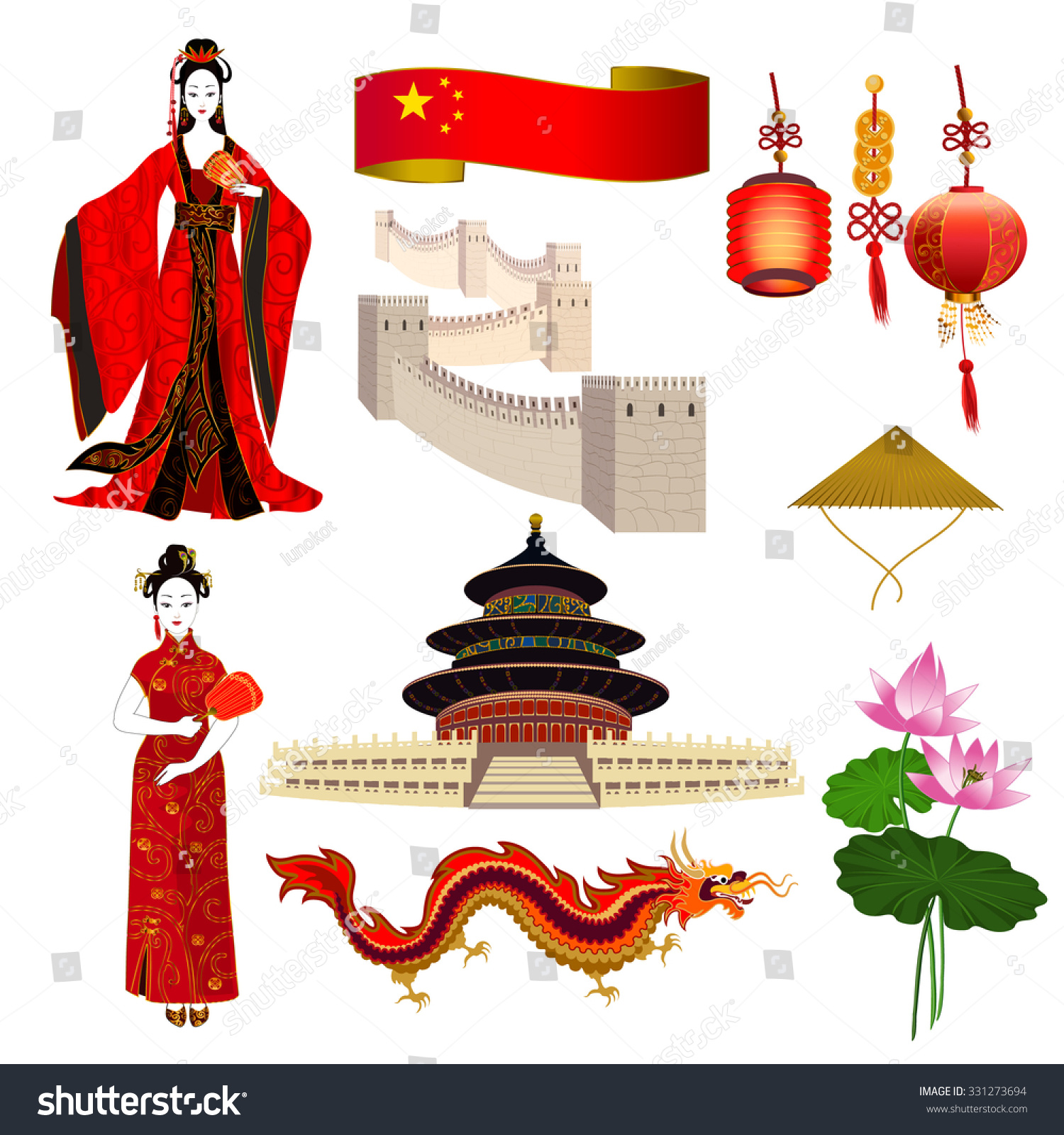 Royalty Free National Symbols Of China Chinese 331273694 Stock