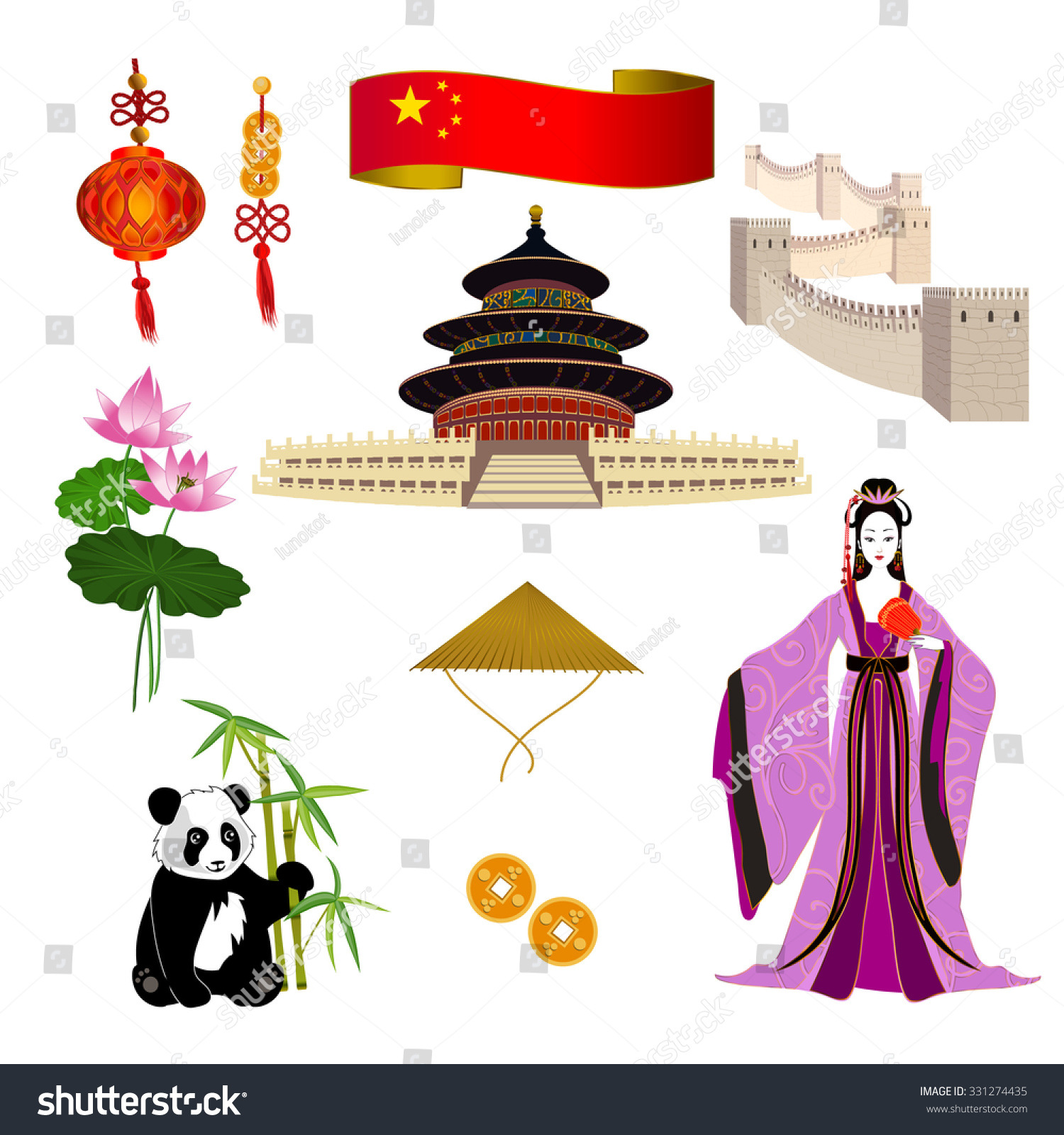 National Symbols China Chinese Woman Lilac Stock Vector Royalty