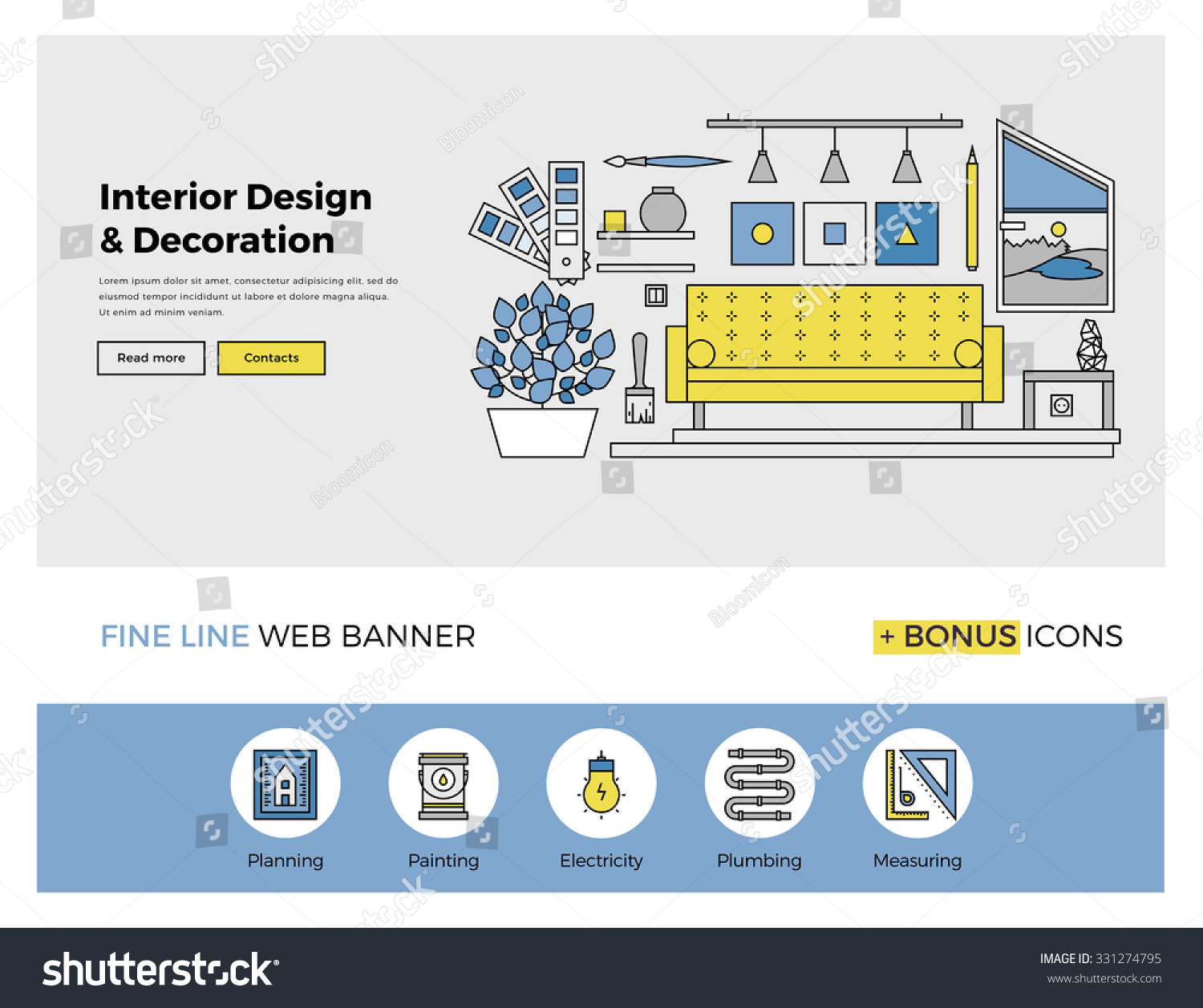 Flat line design web banner template stock vector for The make room website