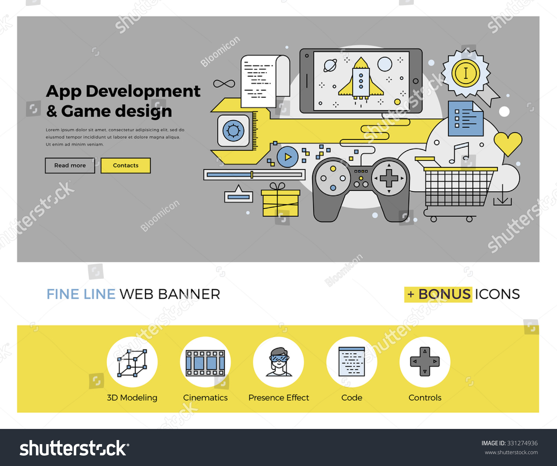 Flat Line Design Web Banner Template Stock Vector 331274936 ...