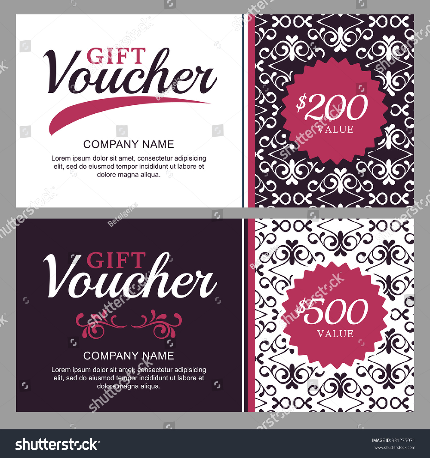 Royalty free vector gift voucher with black and 331275071 stock vector gift voucher with black and white ornament background vintage business card template floral design concept for boutique beauty salon spa magicingreecefo Images