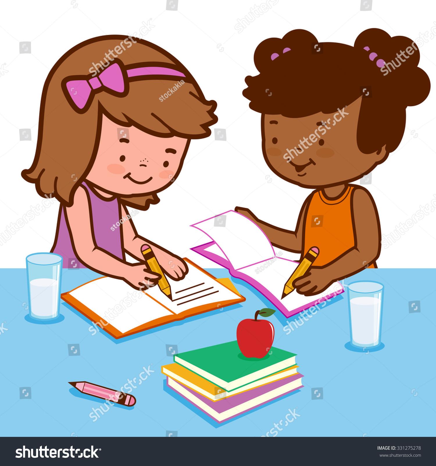 Schoolgirls doing their homework 3