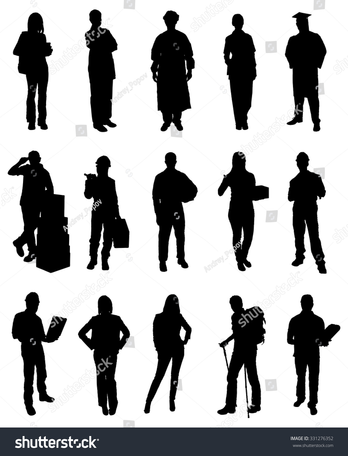 People Occupations Jobs And Community At: Set People Various Occupations Silhouettes Vector Stock