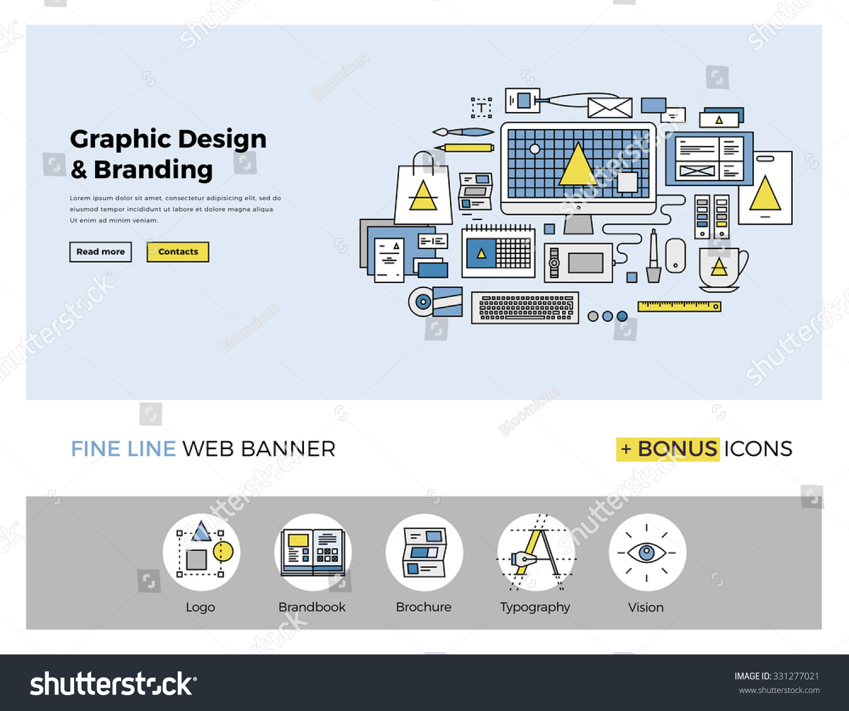 Flat Line Design Web Banner Template Stock Vector 331277021 ...