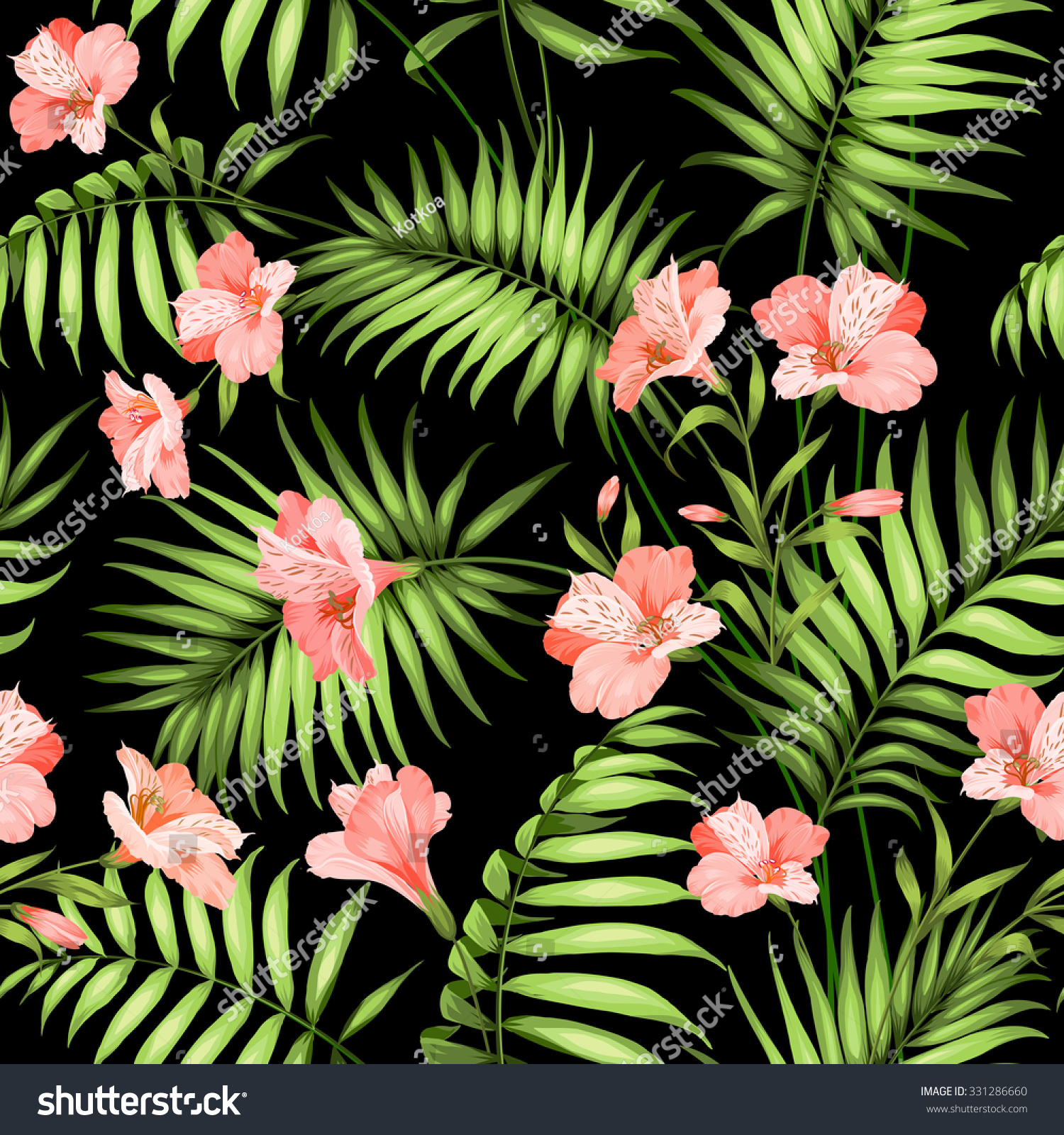 Seamless tropical pattern blossom flowers seamless stock vector seamless tropical pattern blossom flowers for seamless pattern background beautiful tropical flowers tropical izmirmasajfo