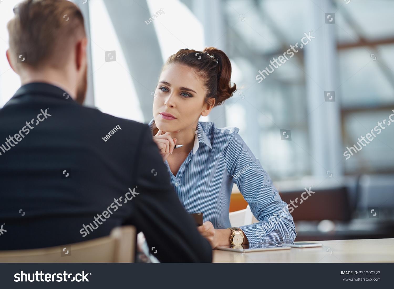job interview recruiter listen candidate stock photo  job interview recruiter listen to candidate