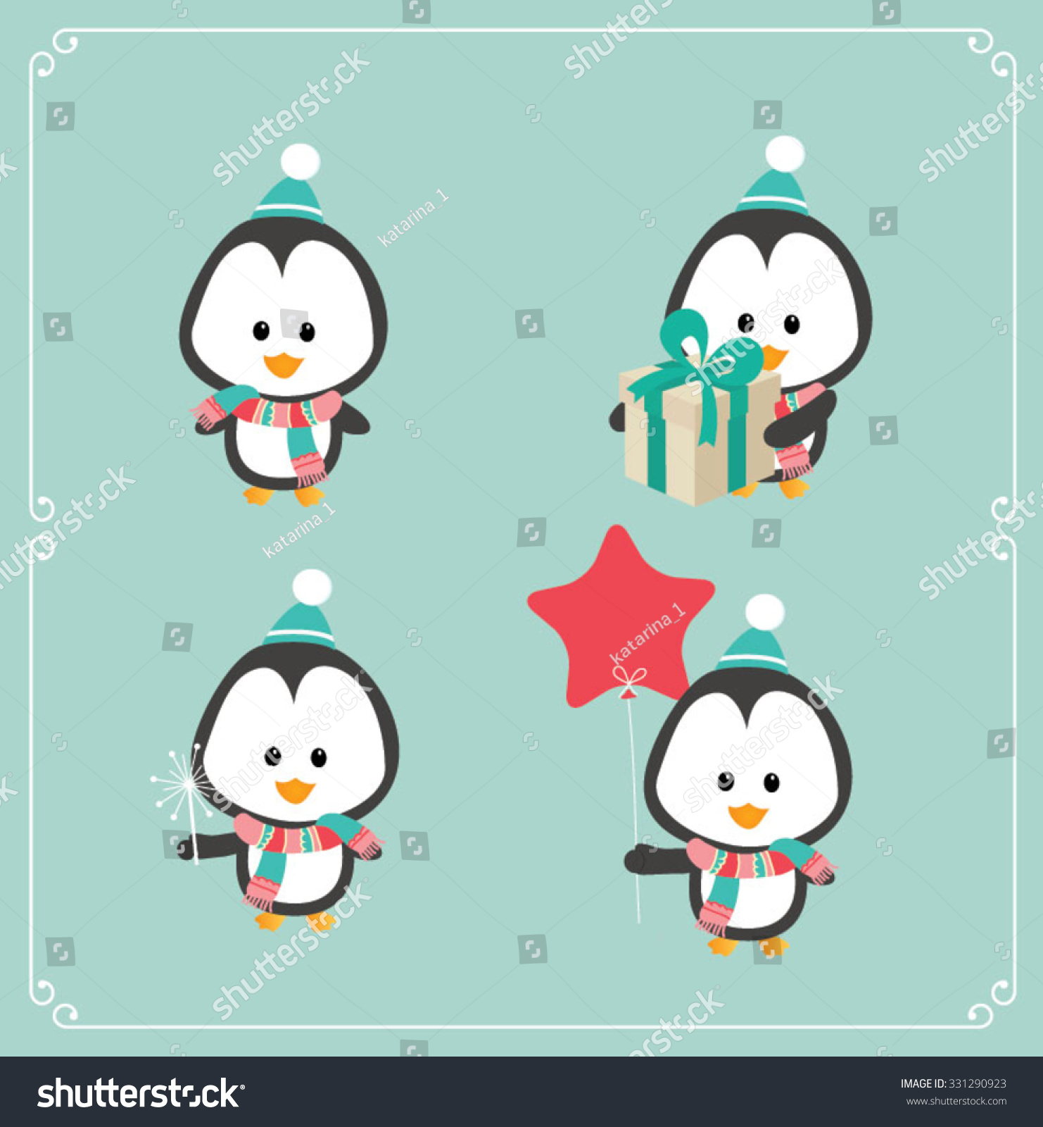 Shutterstock set of cute christmas character penguin vector