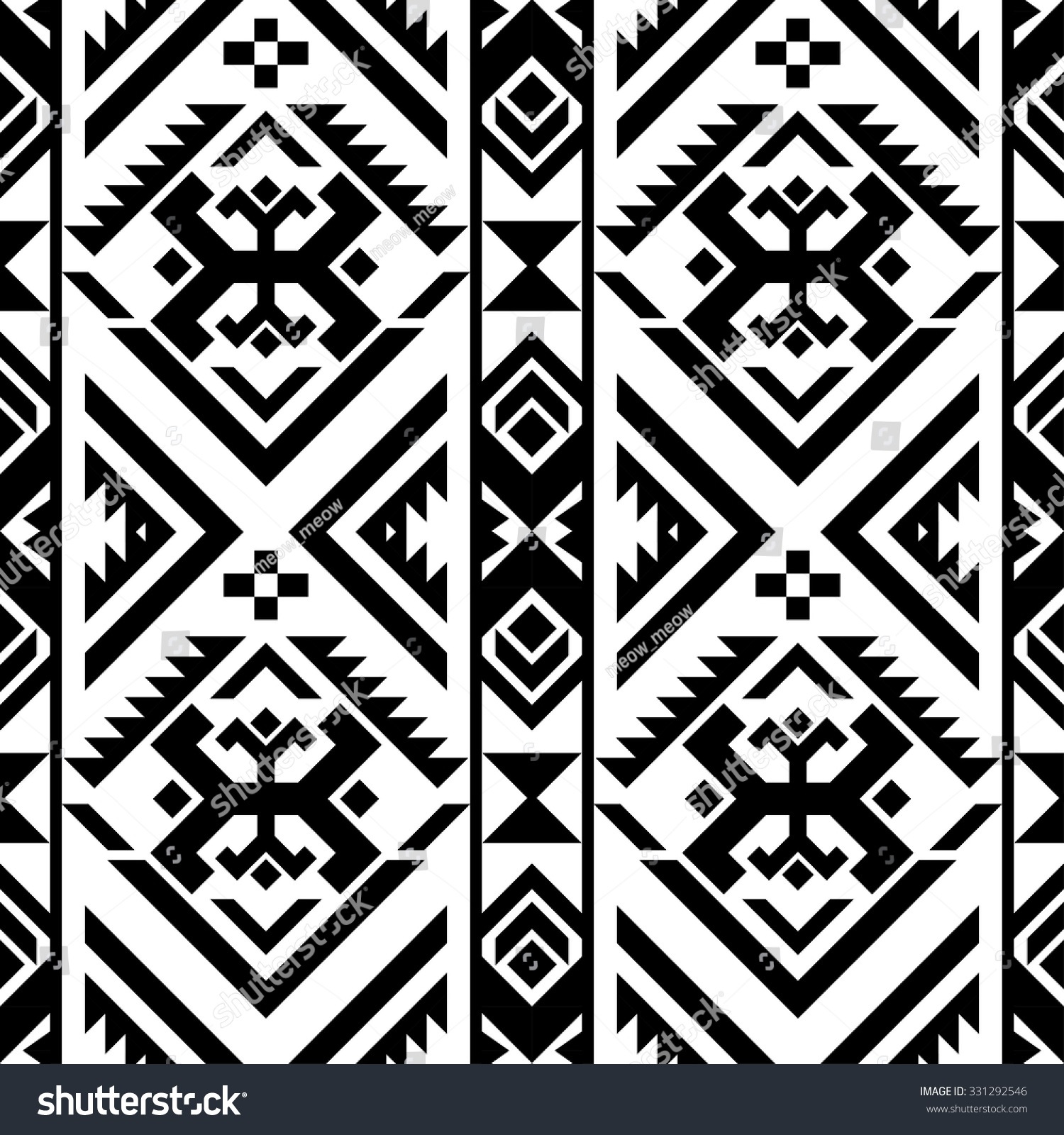 Black White Color Tribal Navajo Seamless Stock Vector ...