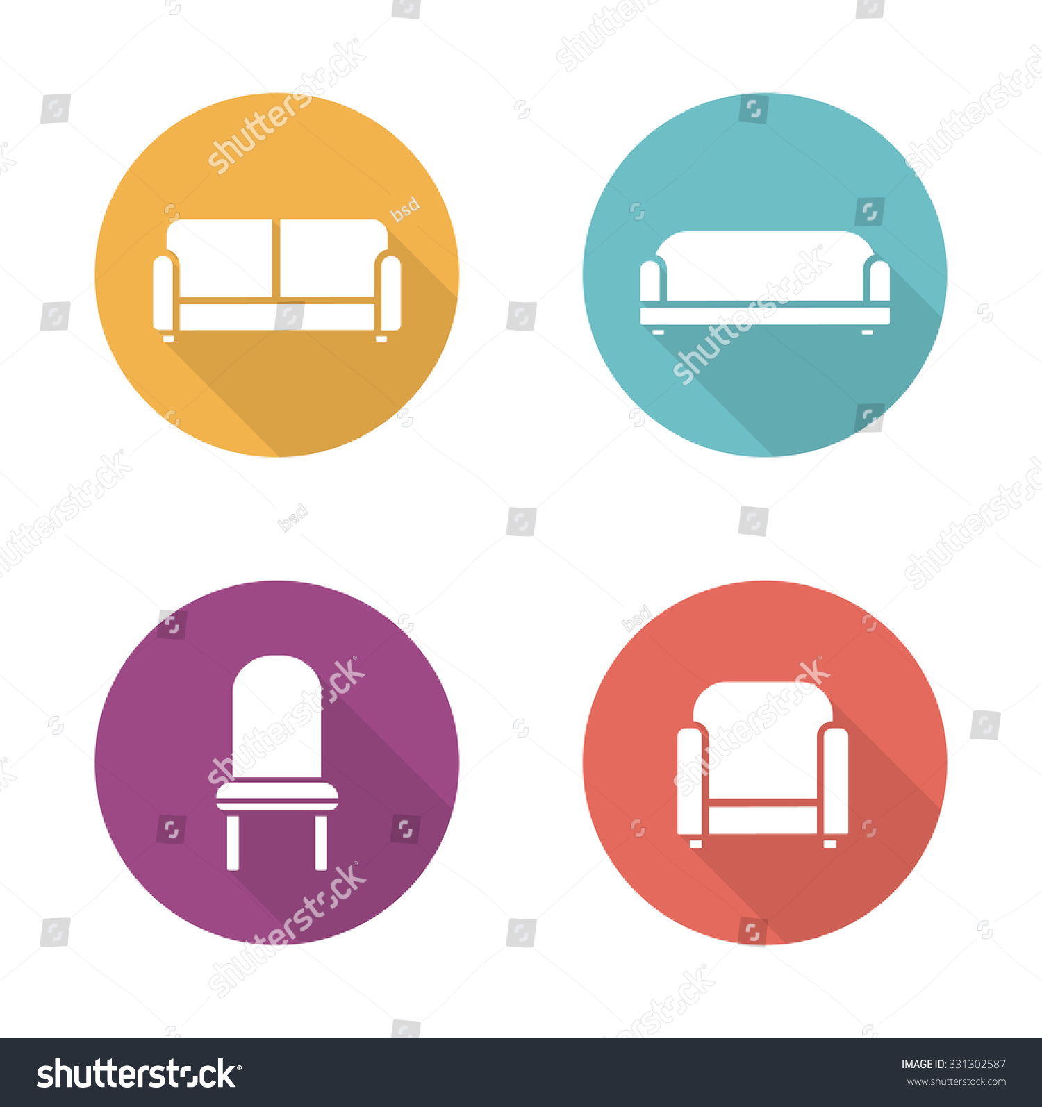 Soft Furniture Flat Design Icons Set Cushioned Living Room Sofa Home Interior Upholstery Chair