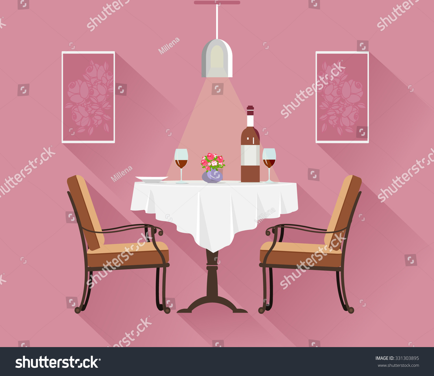 flat style round restaurant table two stock vector 331303895