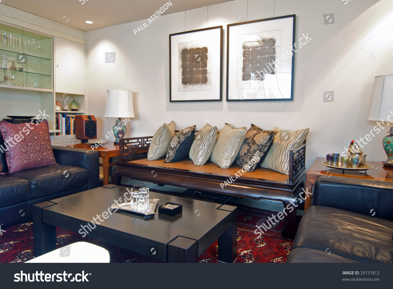 Asian themed interior design living room stock photo for Asian themed living room ideas