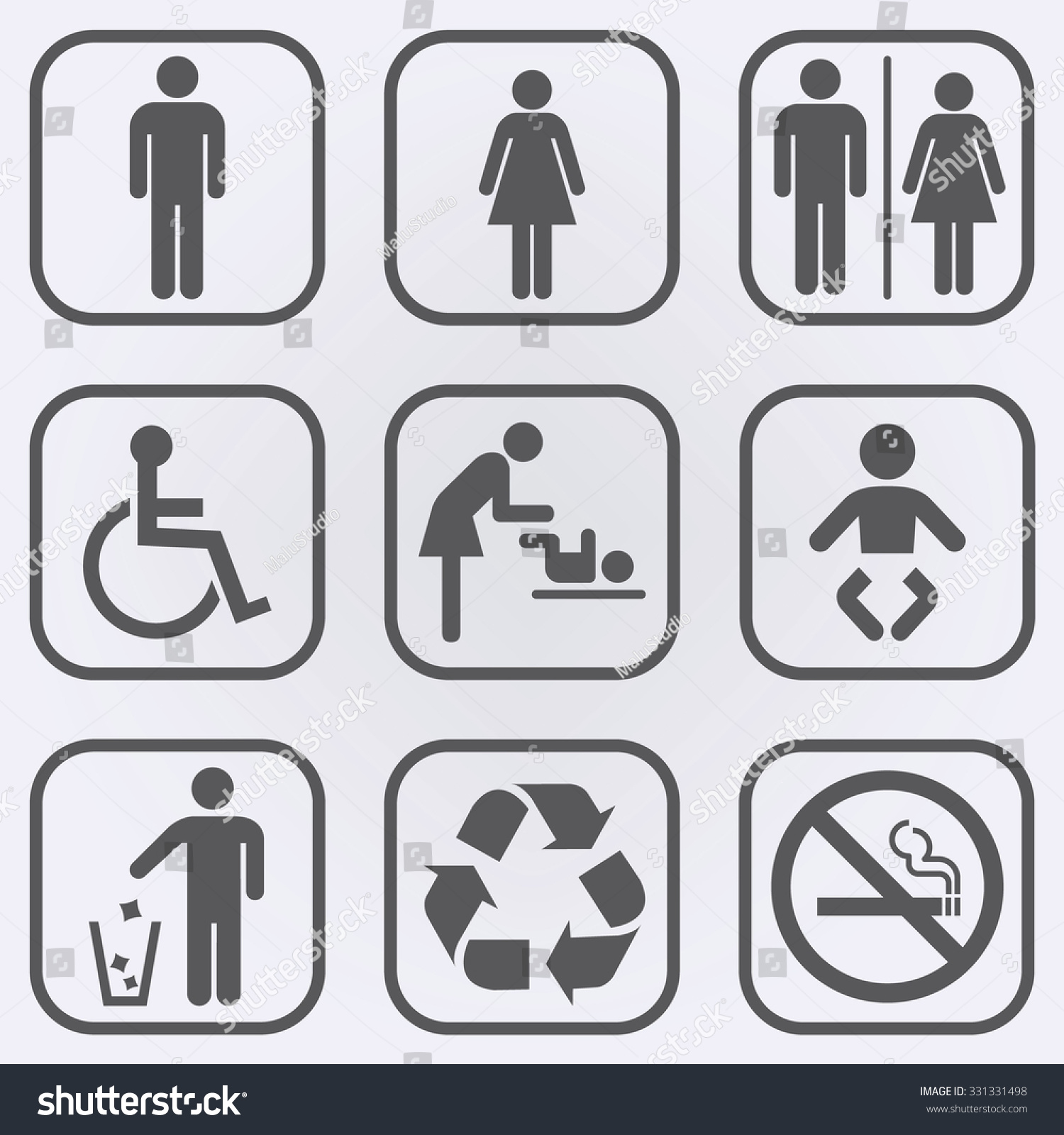 People Icon Set Toilet Restroom Icon Stock Vector
