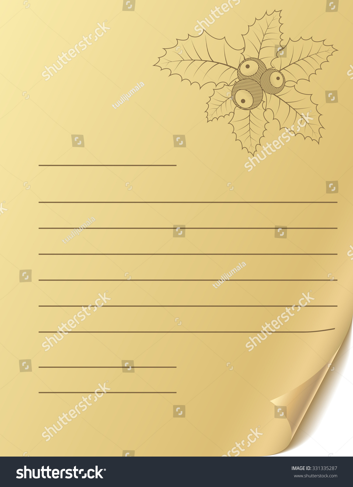 Vintage Christmas Greeting Letter Blank Template Stock Illustration