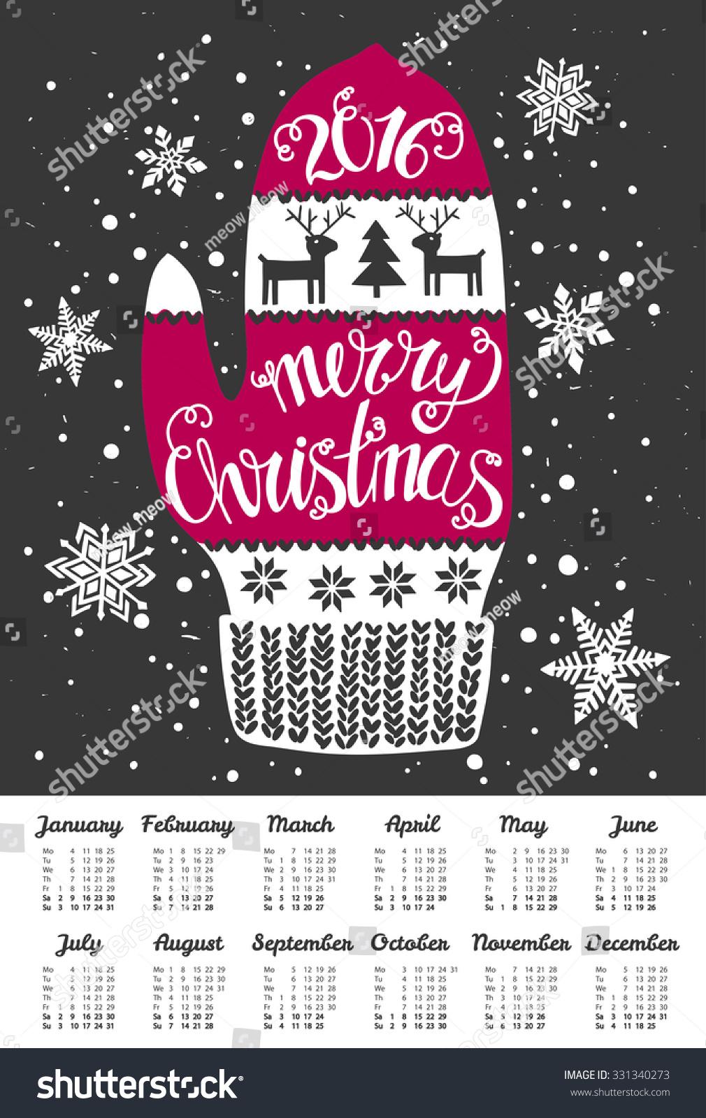 Merry Christmas 2016 Calendar Wall Poster Stock Vector 331340273 ...