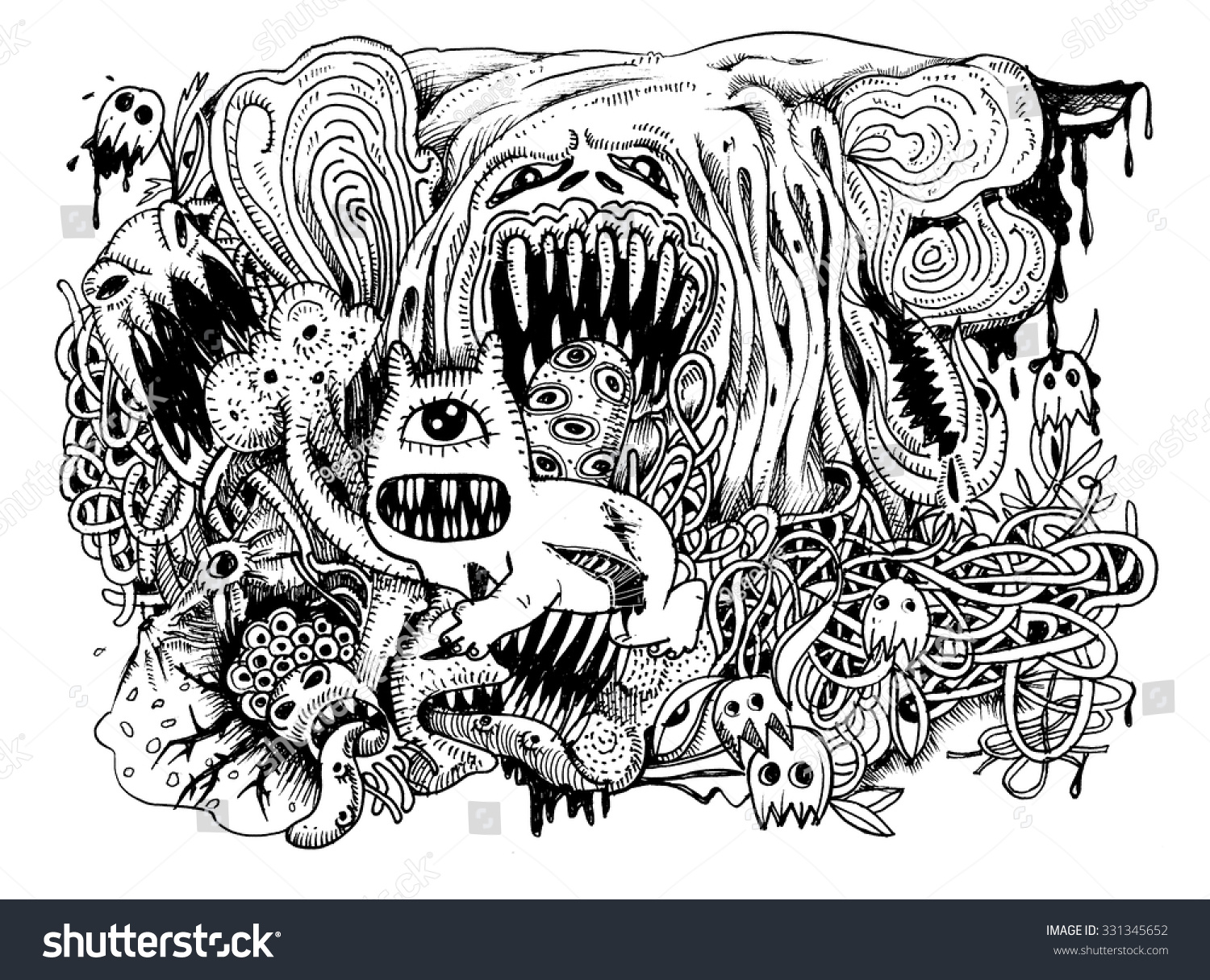 Line Drawing Monster : Monster drawinghand drawn combination linesvector
