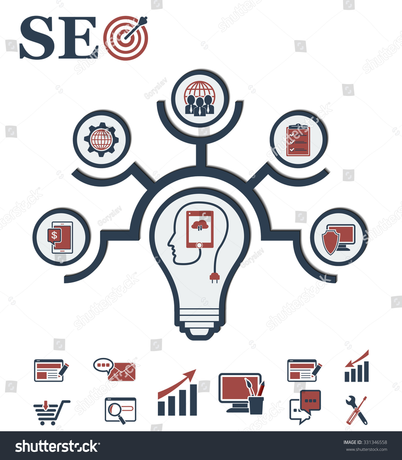 Idea Concept Layout For SEO And Development In Form Of Lamp. Infographic  Background With Integrated