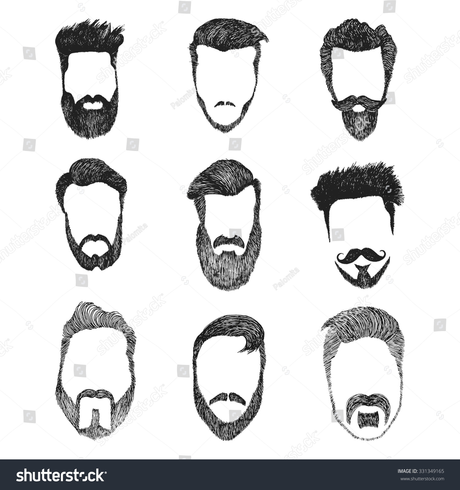 Different Men Faces Hipster Geek Style Stock Vector ...