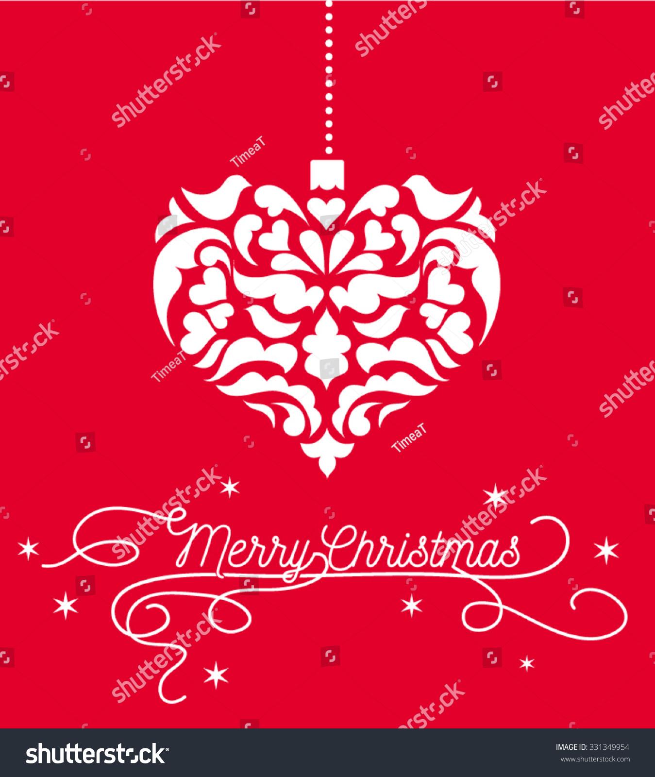 Vintage heart christmas ornament white stock vector