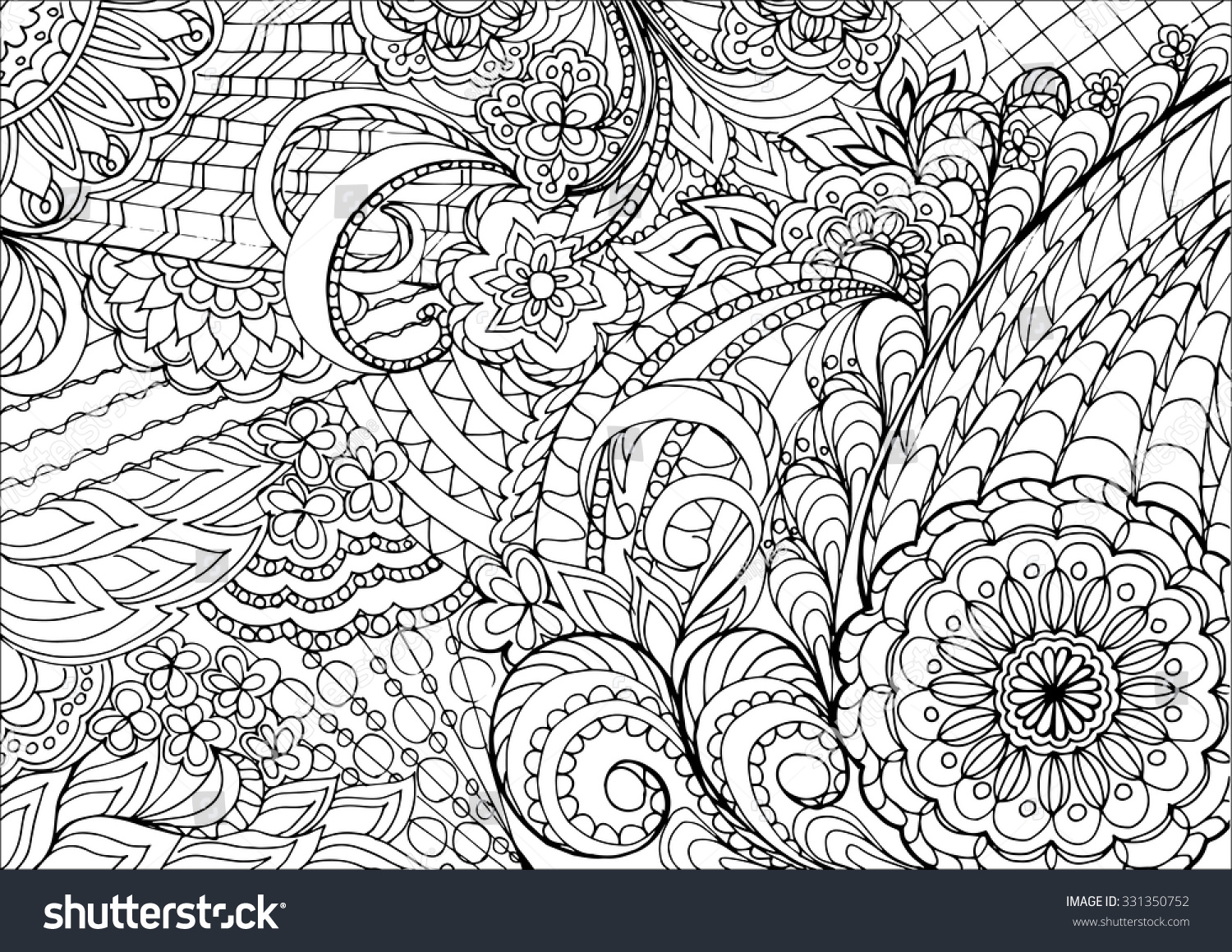 Zen coloring flowers - Hand Drawn Decorated Image With Flowers In Zen Style Image For Adult Coloring Book
