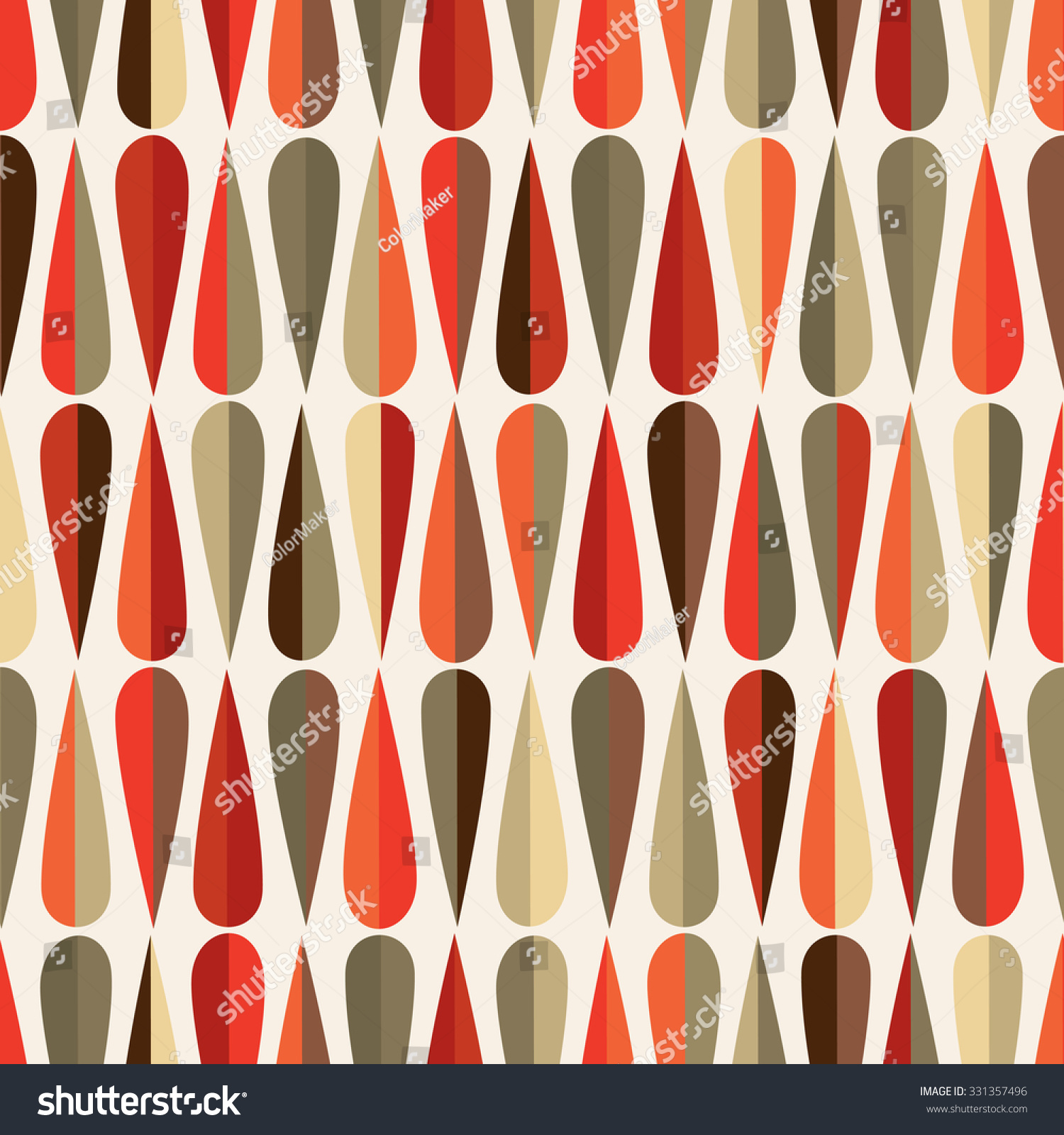 mid century modern style retro seamless pattern with drop shapes in various color tones. Black Bedroom Furniture Sets. Home Design Ideas