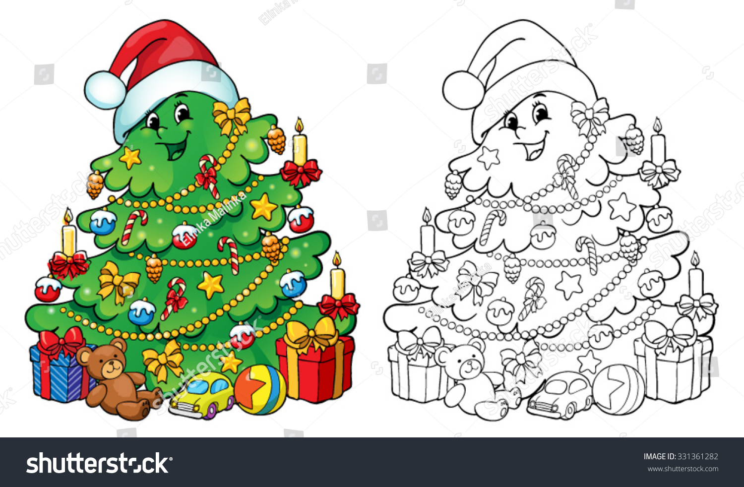 Coloring Book Page Illustration Christmas Tree Stock Vector ...