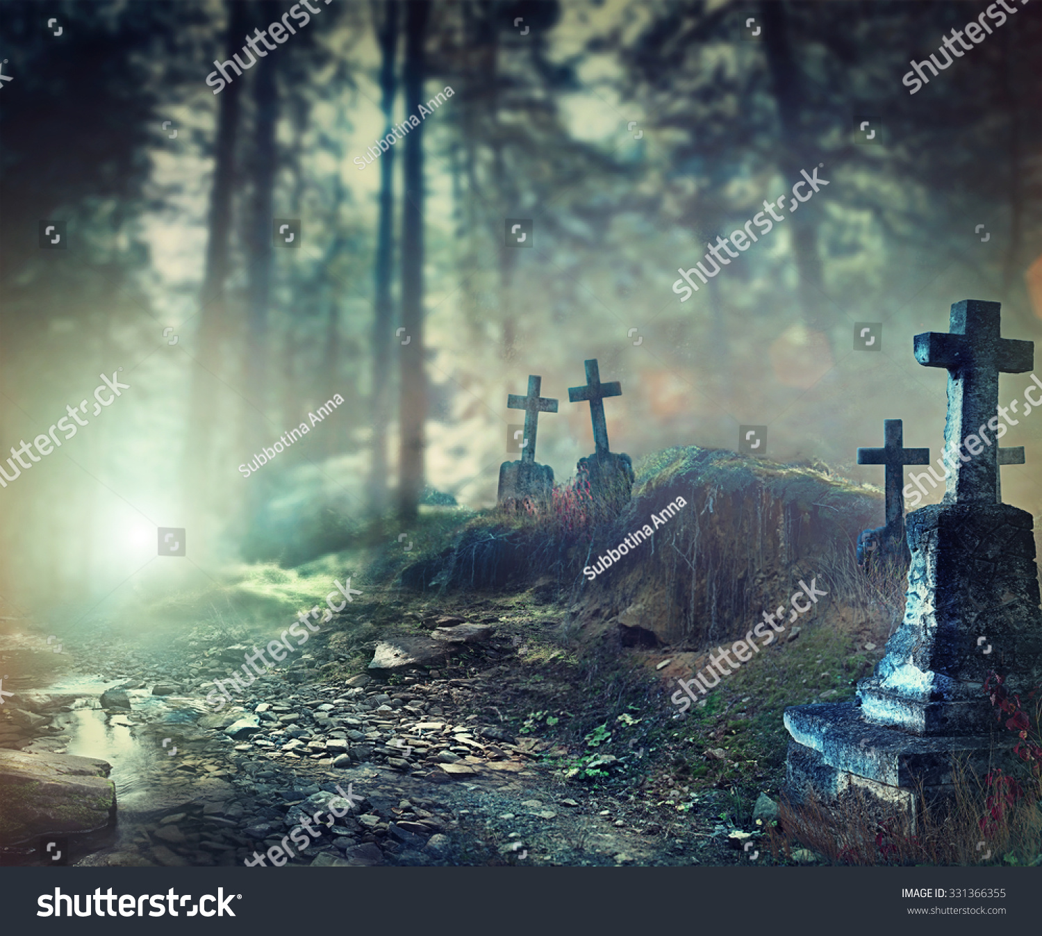 Halloween Art Design Background Foggy Graveyard At Night Old Spooky Cemetery In Moonlight Through