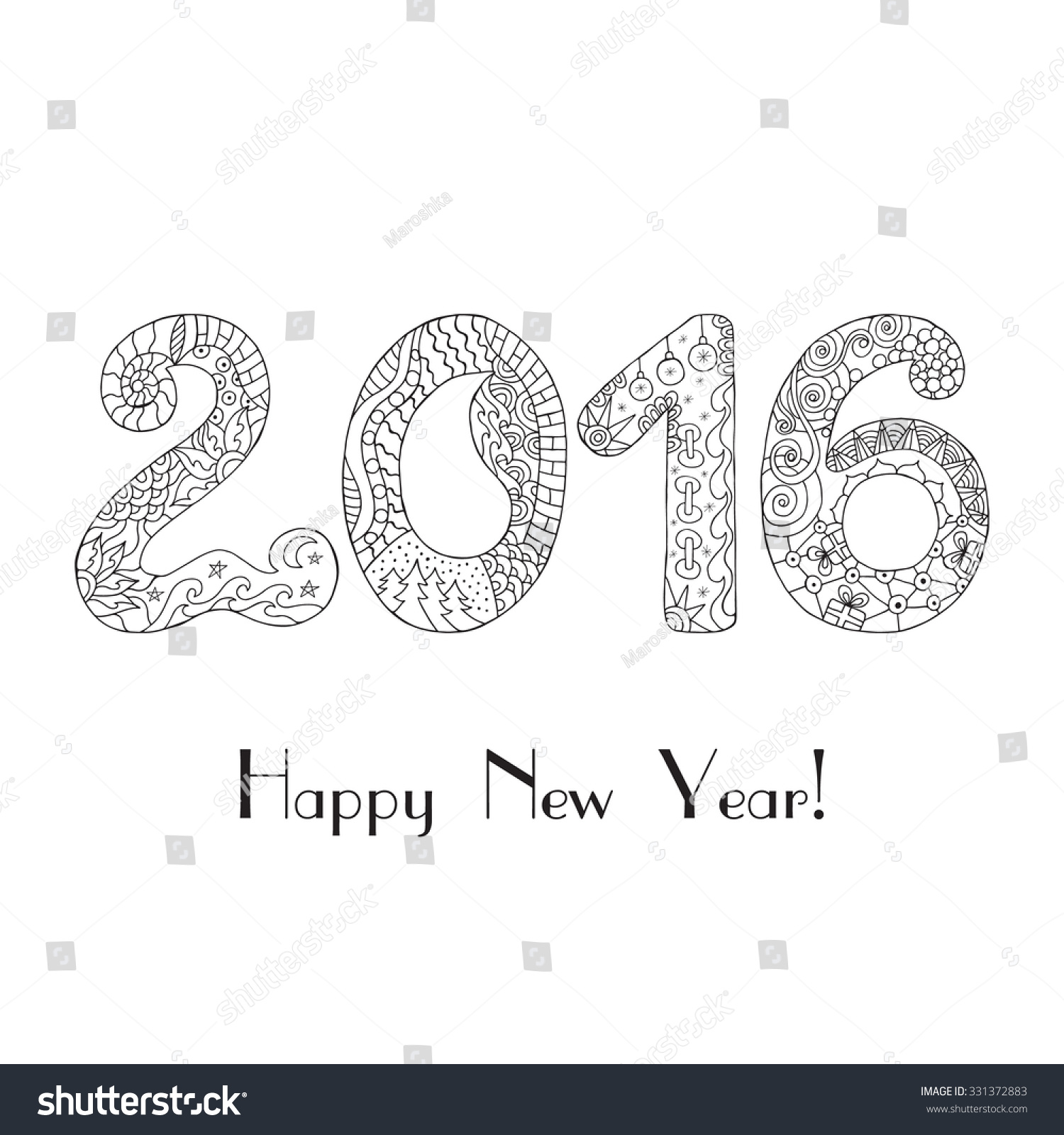 Happy new year 2016 christmas card in zentangle style for for Happy new year coloring pages 2016