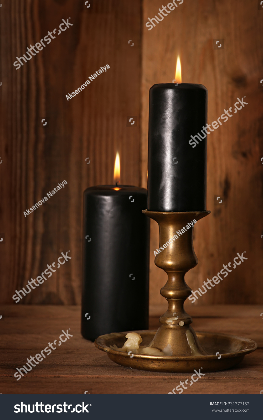 Black Burning Candles Wooden Background Symbols Stock Photo Edit