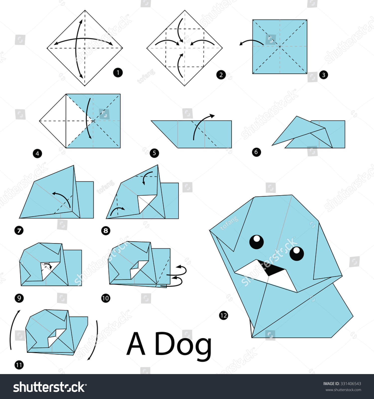 Step by step instructions how make stock vector 331406543 for Origami swan easy step by step