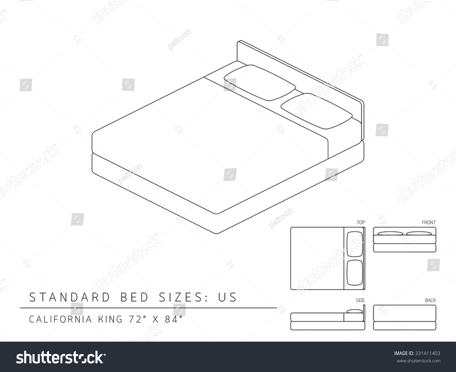 Standard twin bed size dimensions - King Size Bed Dimensions Motels Standard Bed Sizes Of Us United States Of America California