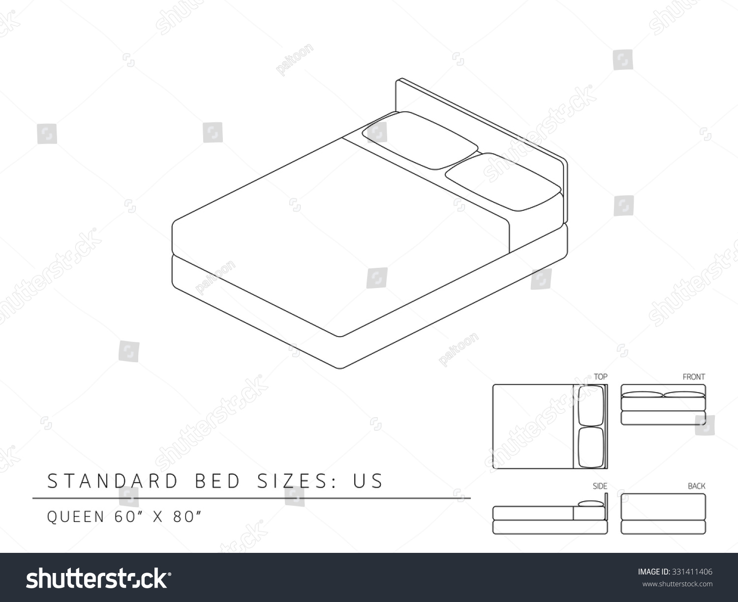 Standard Bed Sizes Of Us United States America Queen Size 60 X 80 Inches Perspective 3d With Dimension Top Front Side And Back View Illustration
