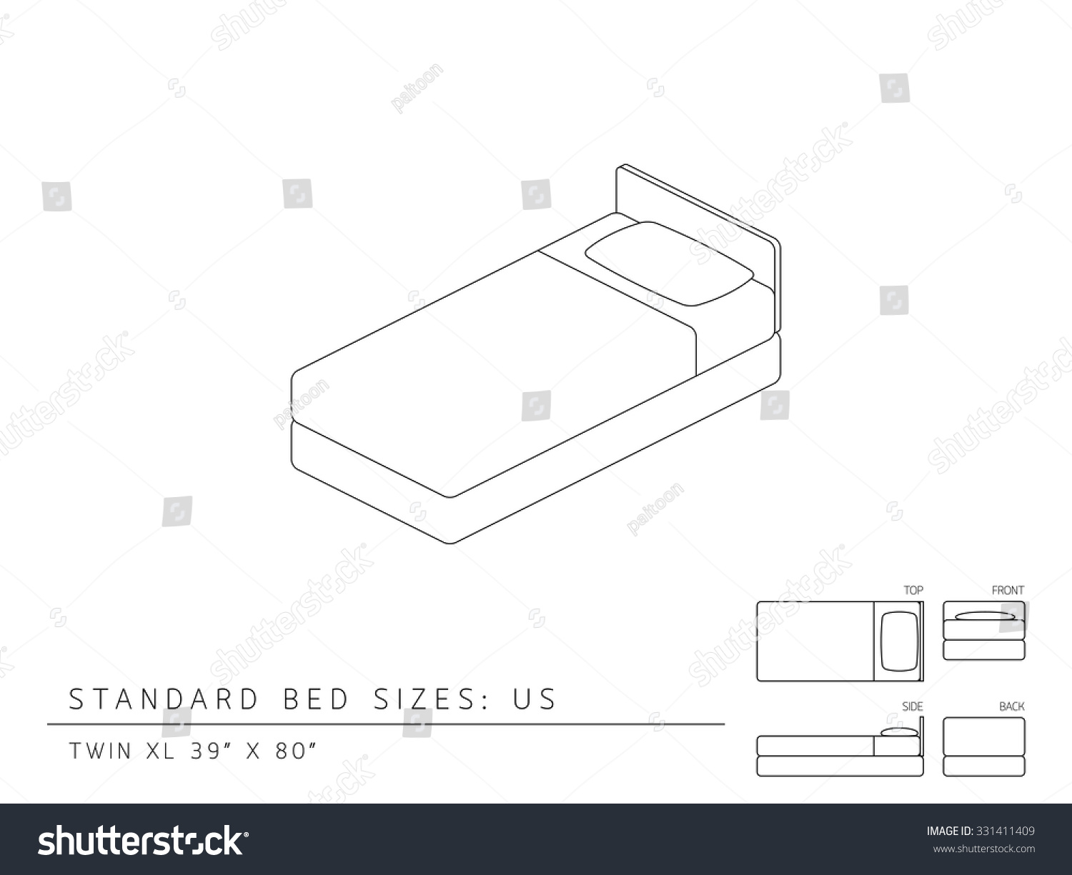 Standard Bed Sizes Us United States Stock Vector Royalty Free 331411409