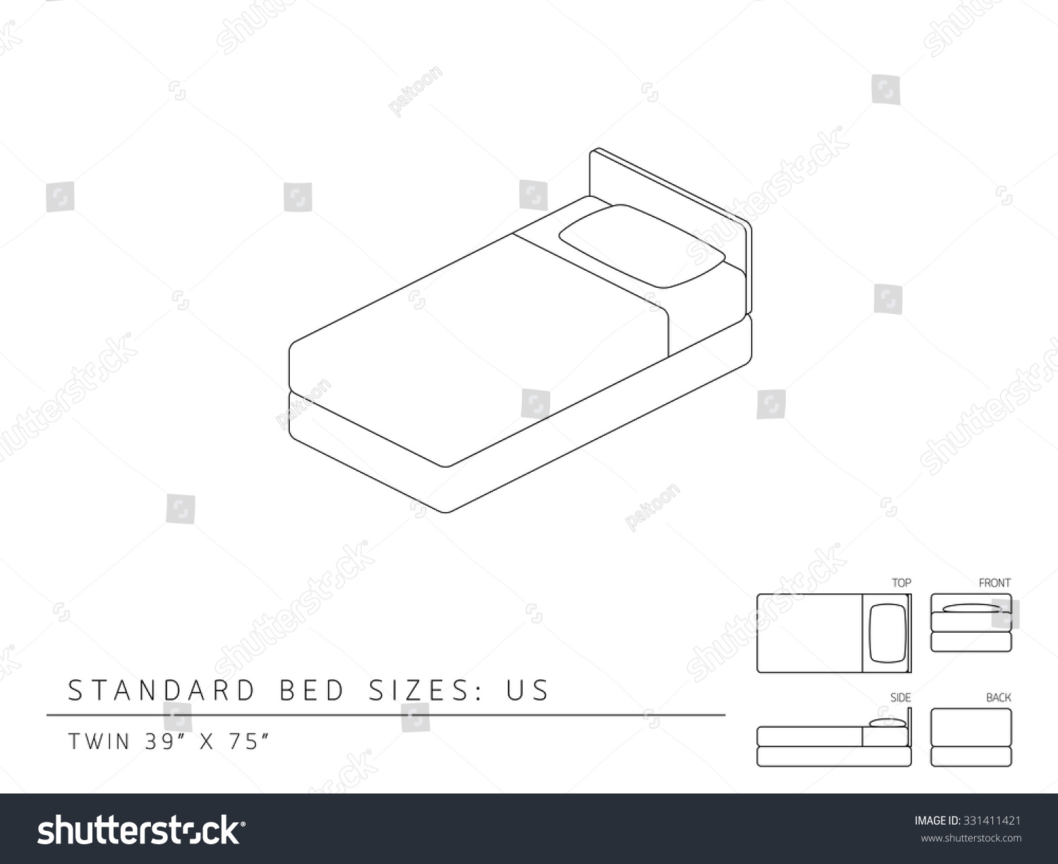 Standard Bed Sizes Us United States Stock Vector 331411421 ...