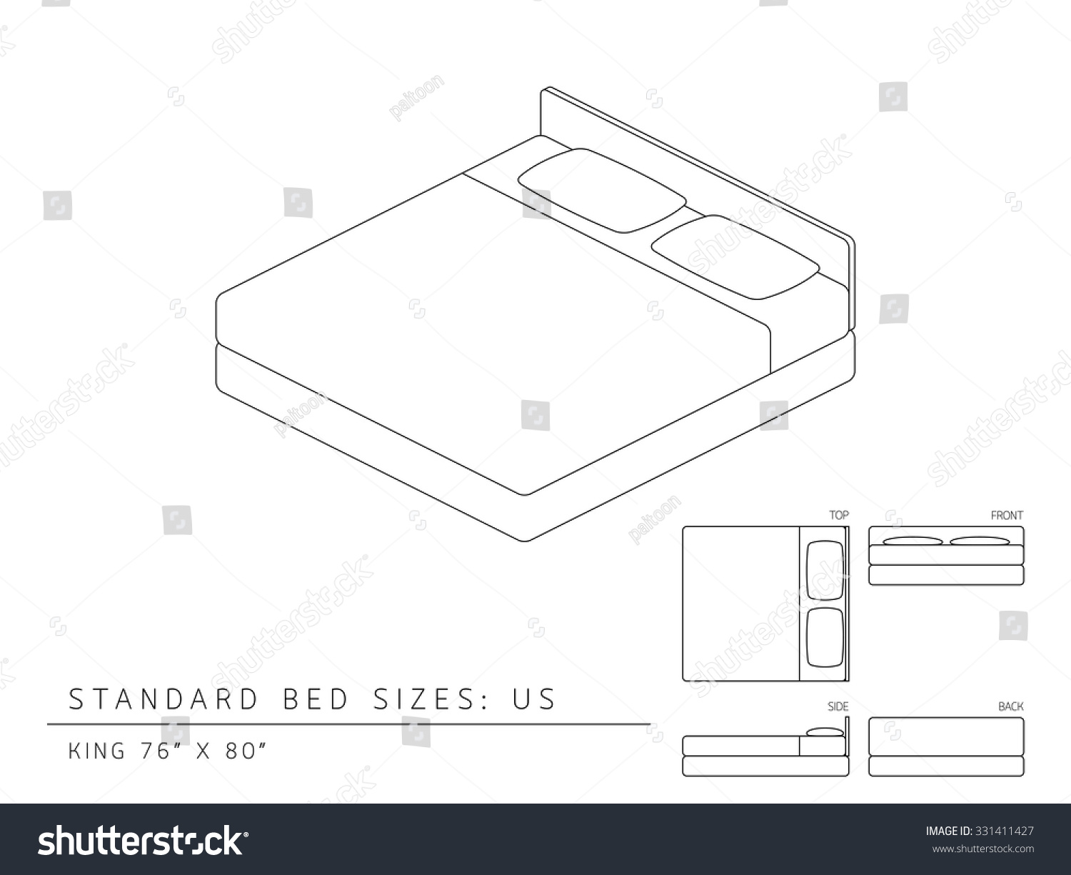 standard bed sizes of us united states of america king