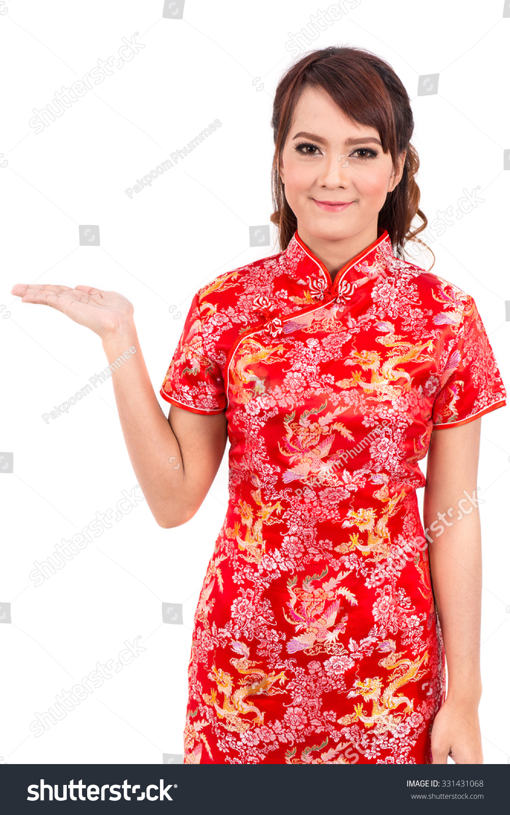 Asian girl greeting traditional chinese welcome stock photo royalty asian girl greeting in traditional chinese welcome guest new year m4hsunfo