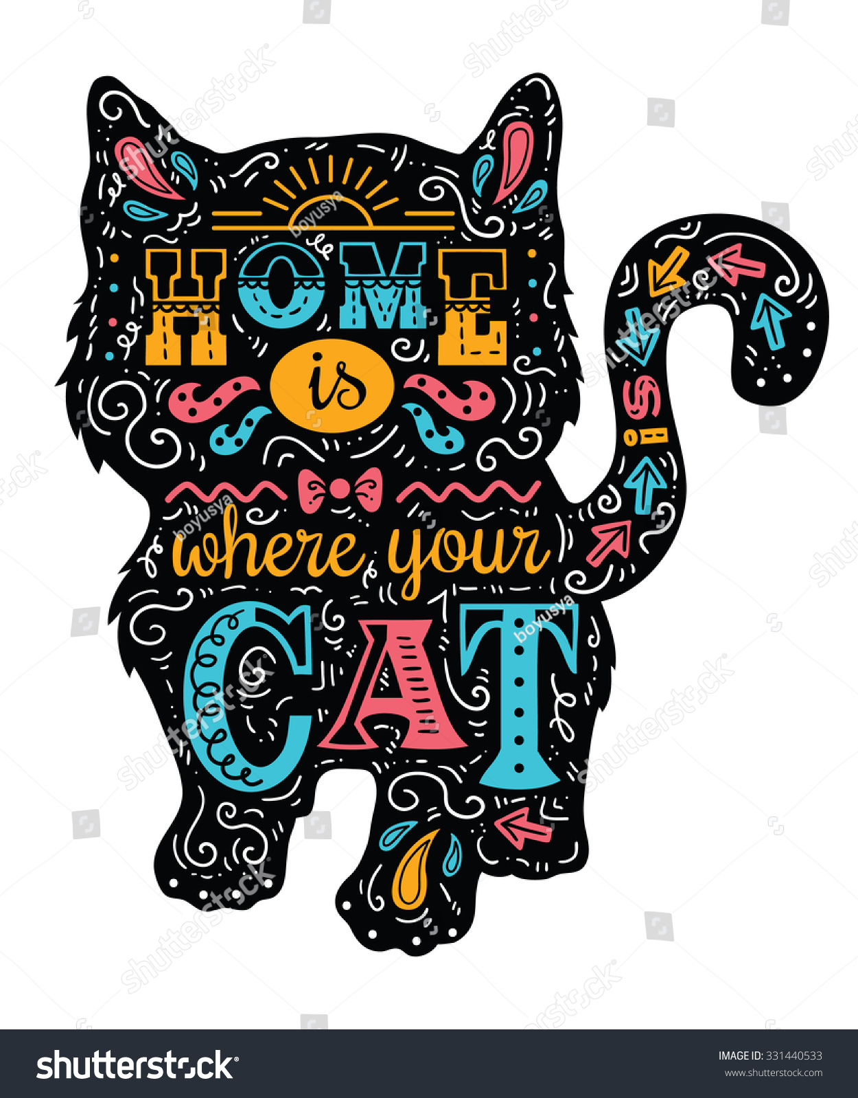 Cat Stock Quote Cat Silhouette Vector Illustration Cute Cat Stock Vector 331440533