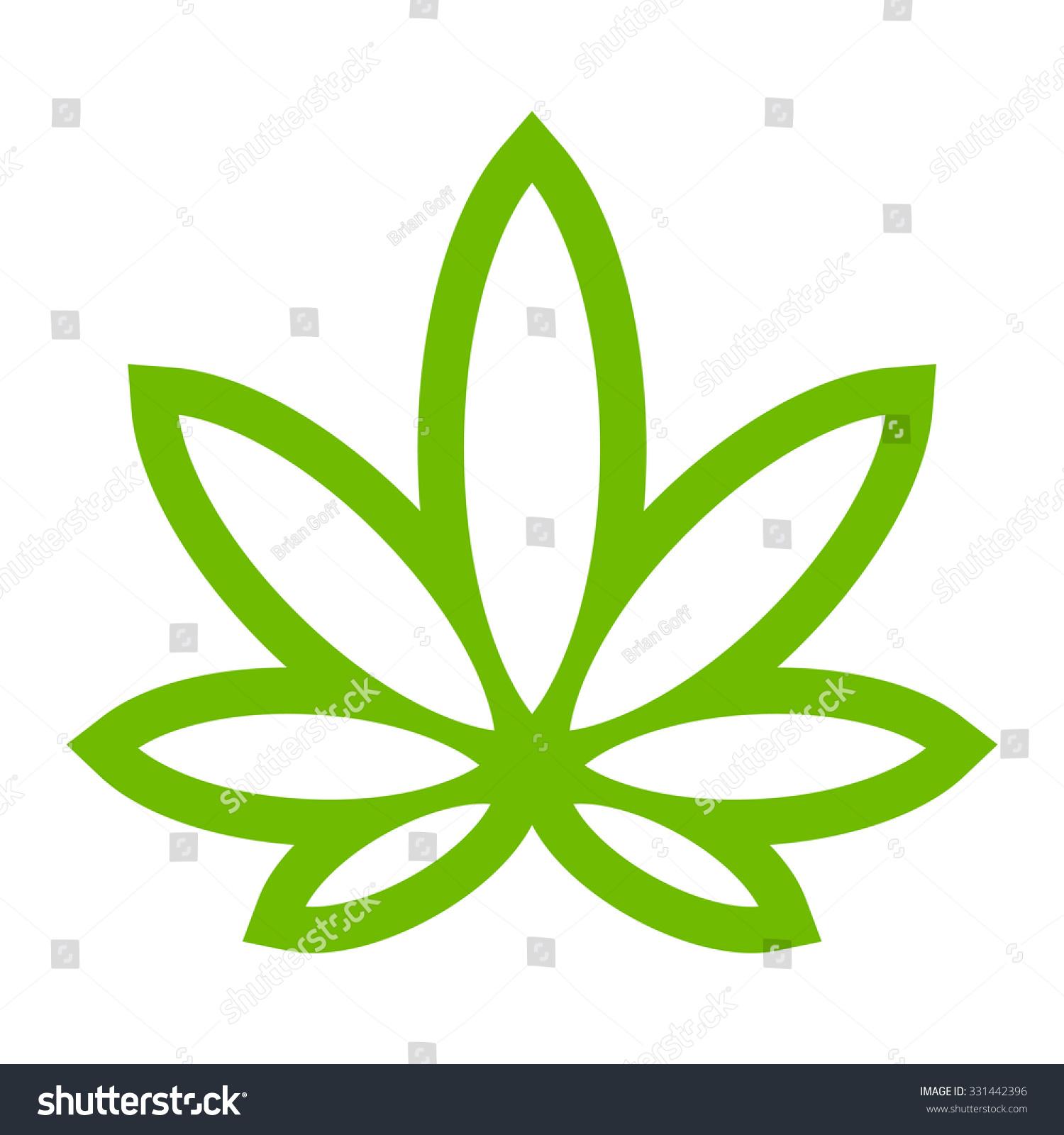 Stylized Green Marijuana Pot Weed Leaf Stock Vector Royalty Free