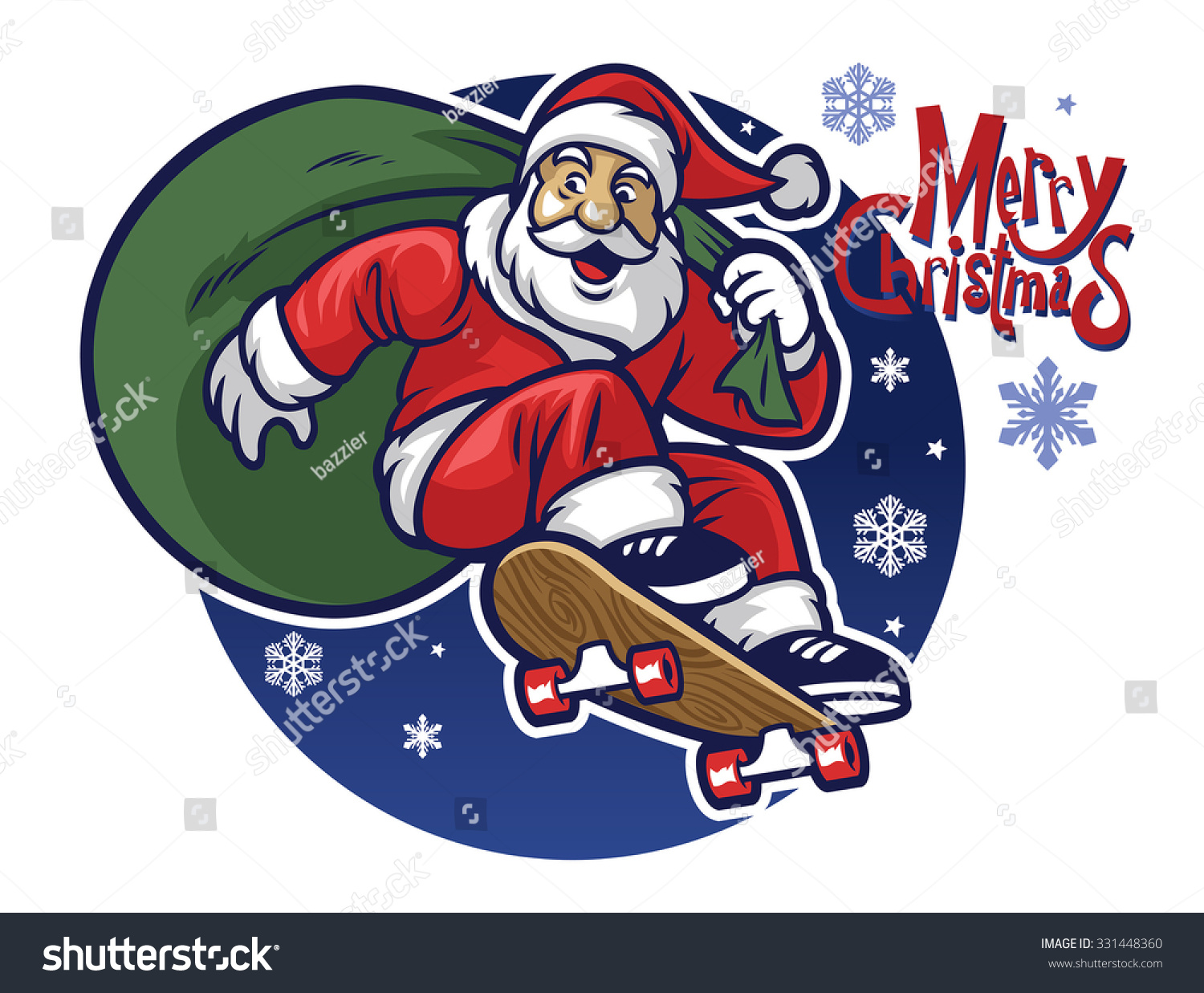 Santa Claus Delivering The Christmas Gift By Riding A Click Santa Claus Skateboard