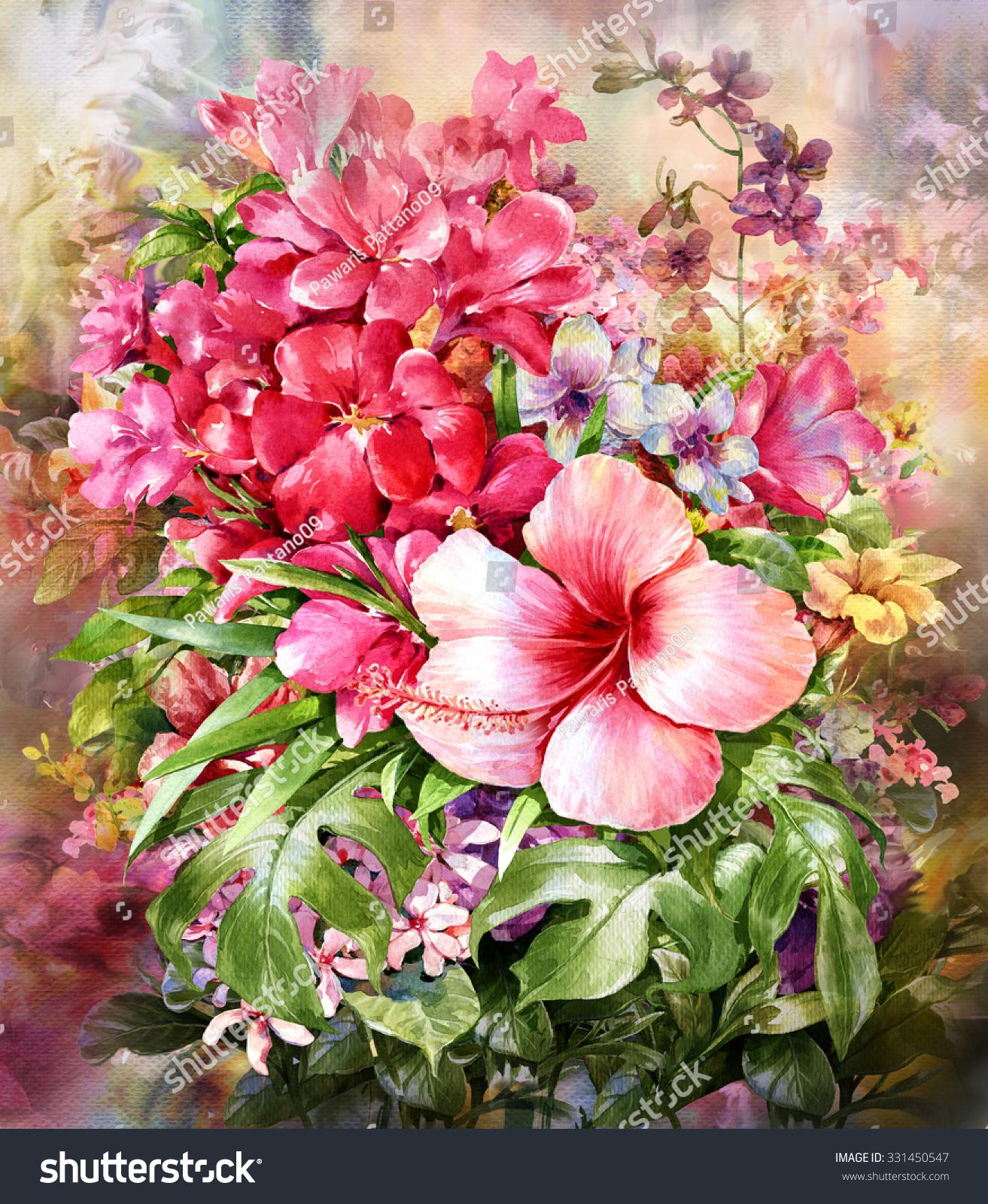 Bouquet Multicolored Flowers Watercolor Painting Styledigital Stock ...