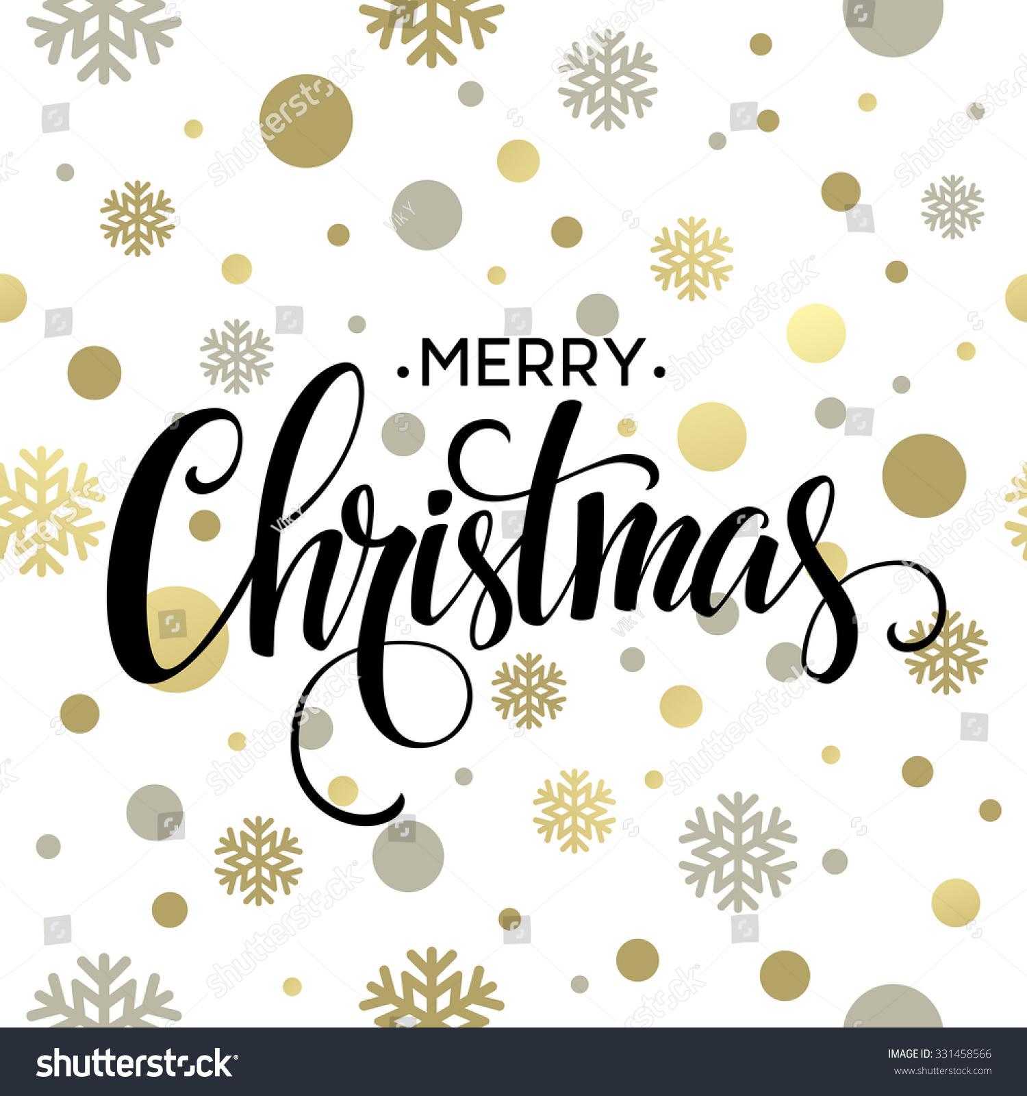 Merry Christmas Gold Glittering Lettering Design Stock ...