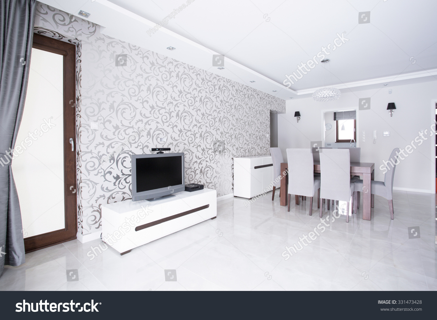 Contemporary Spacious White Living Room Patterned Stock