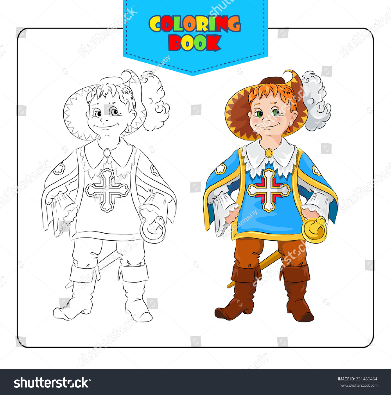 Little Boy In Carnival Costume Musketeers Coloring Book Set Of Outline And Colored Cartoon